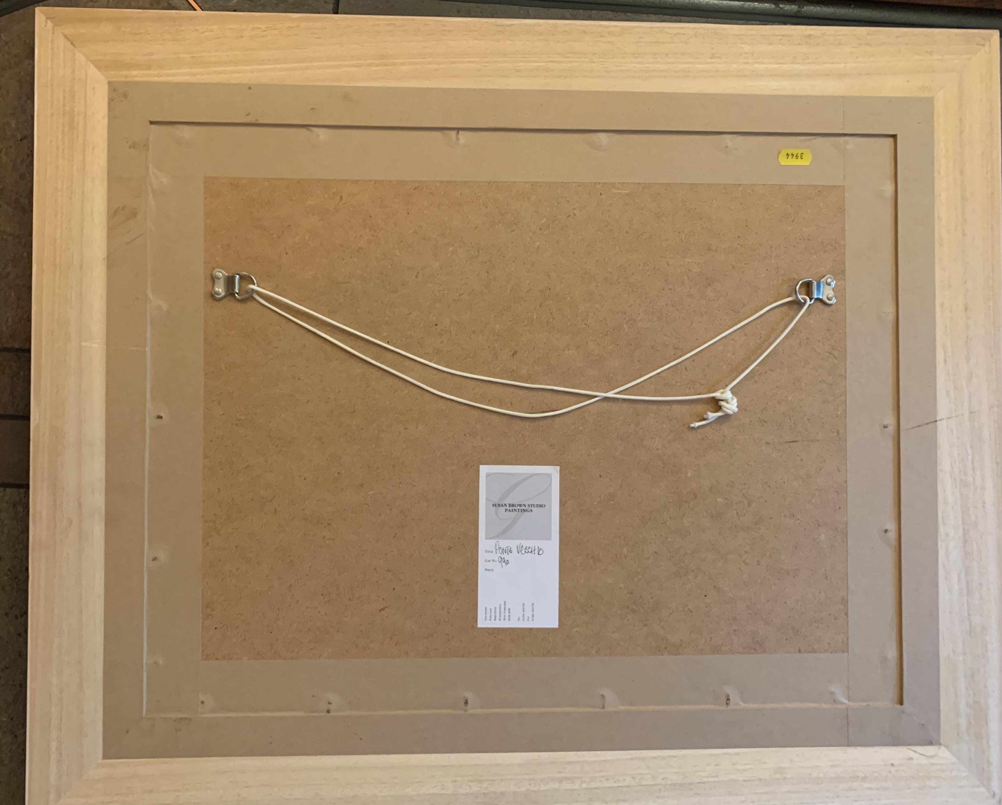 "Susan Brown watercolour 'Ponte Vecchio' , image 20"" x 14"", frame 29"" x 23.5"" good condition - Image 3 of 4"
