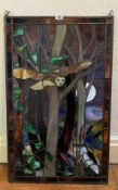 """Stained glass window with scene of flying owl, trees and bird, 19.5"""" x 31.5"""". No damage"""