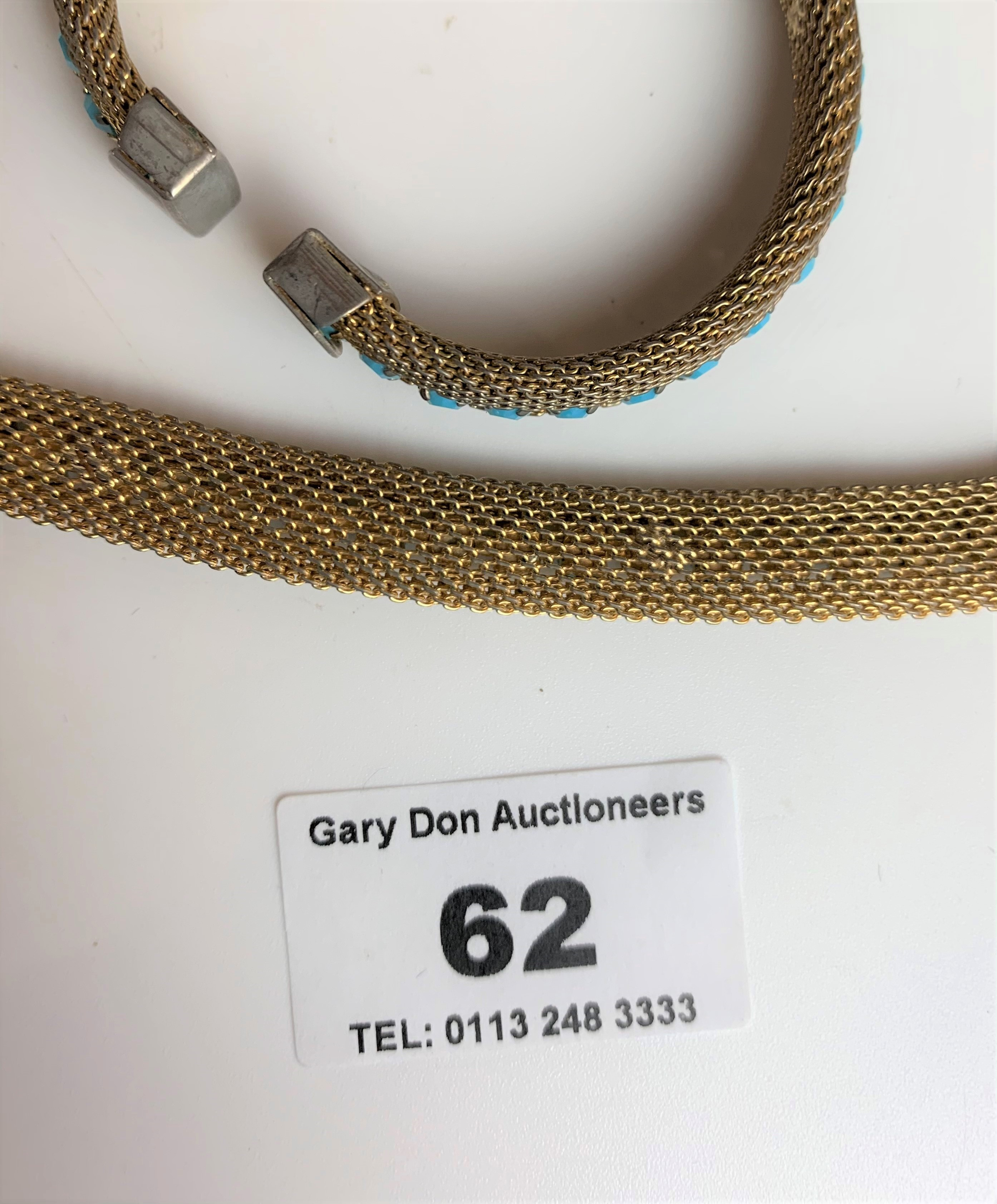 """Dress choker style necklace and matching bangle with turquoise colour stones. Necklace 13"""" long, - Image 5 of 6"""