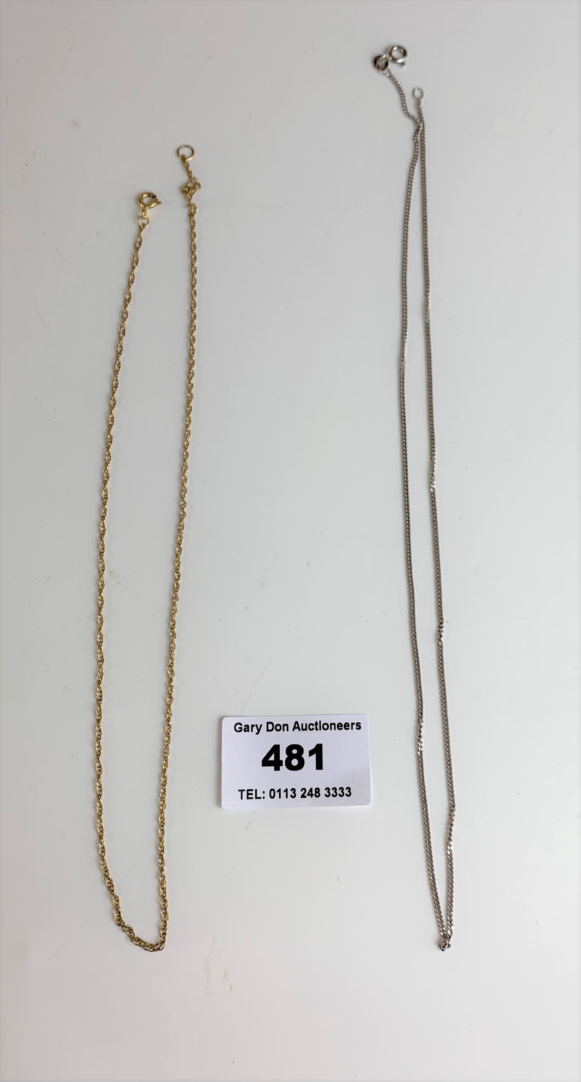 """9k white gold necklace, length 15.5"""", w: 3.1 gms - Image 4 of 4"""