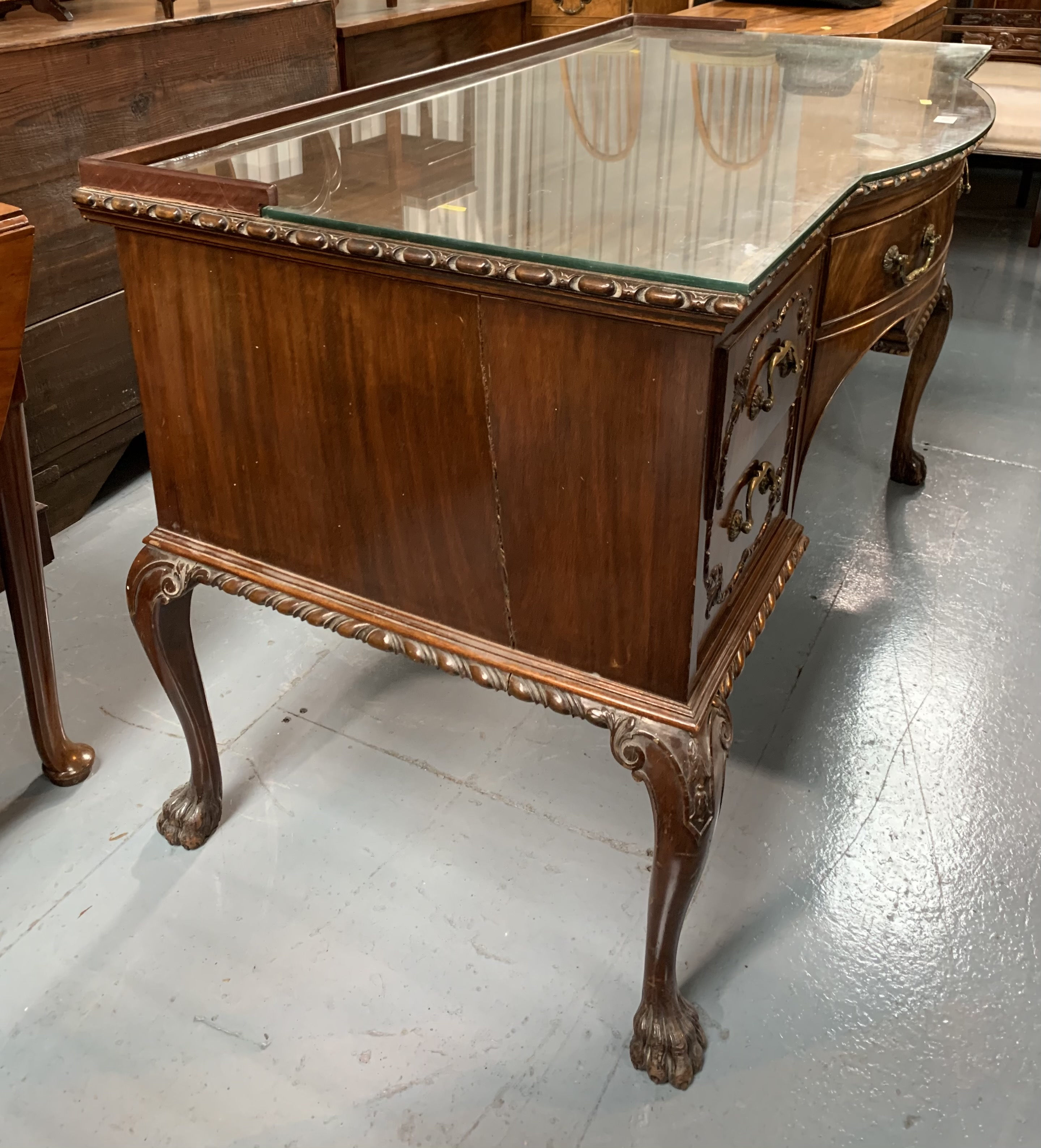 """Bow fronted claw/ball foot sideboard with glass top and 5 drawers 50"""" wide, 26"""" deep, 31"""" high - Image 2 of 6"""