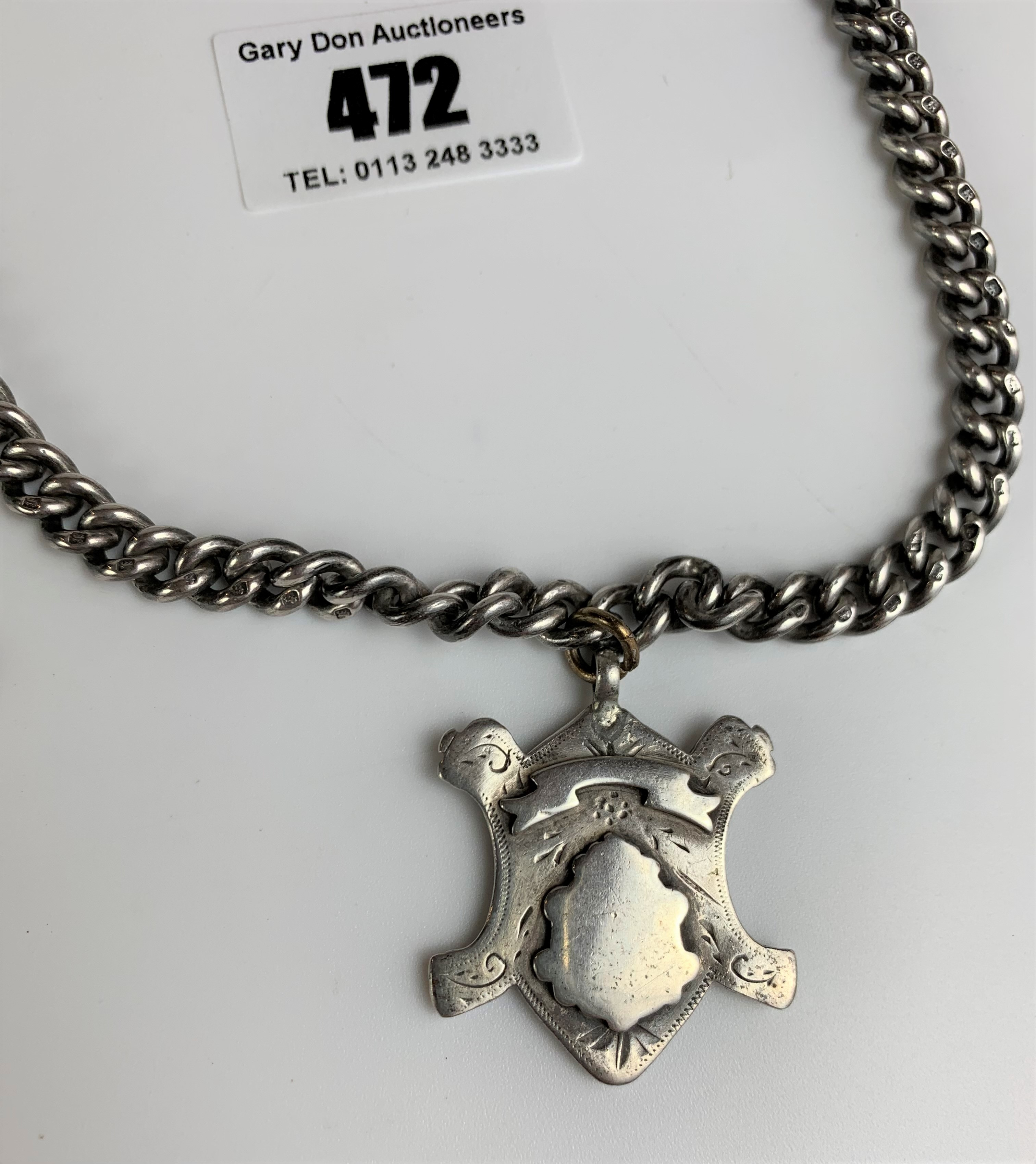 """Silver watch chain with t-bar, 2 shields and locket, length 15"""", total w: 2.9 ozt - Image 2 of 9"""
