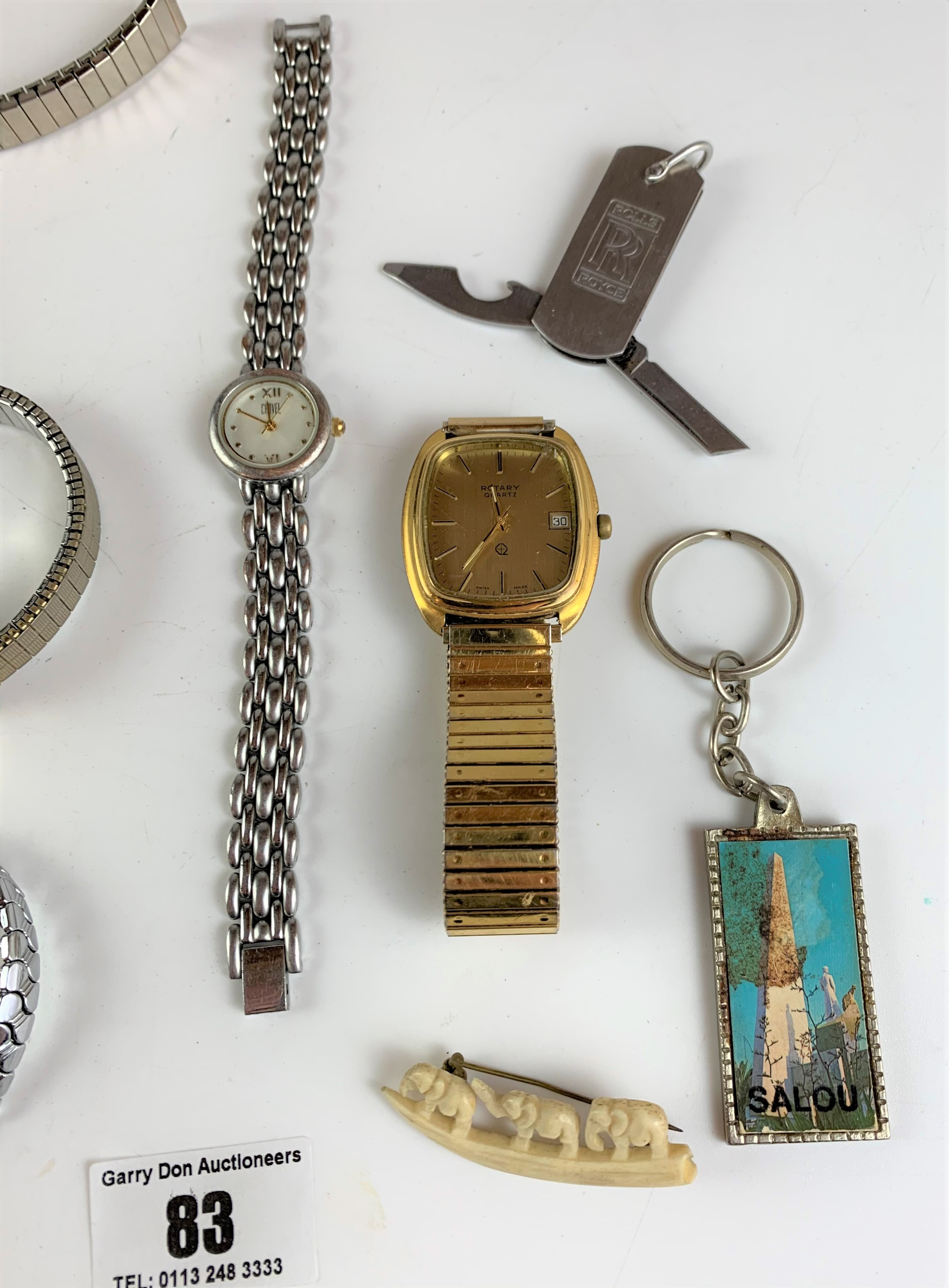 Bag of assorted dress watches, necklaces, keyrings and wooden mouse - Image 4 of 7