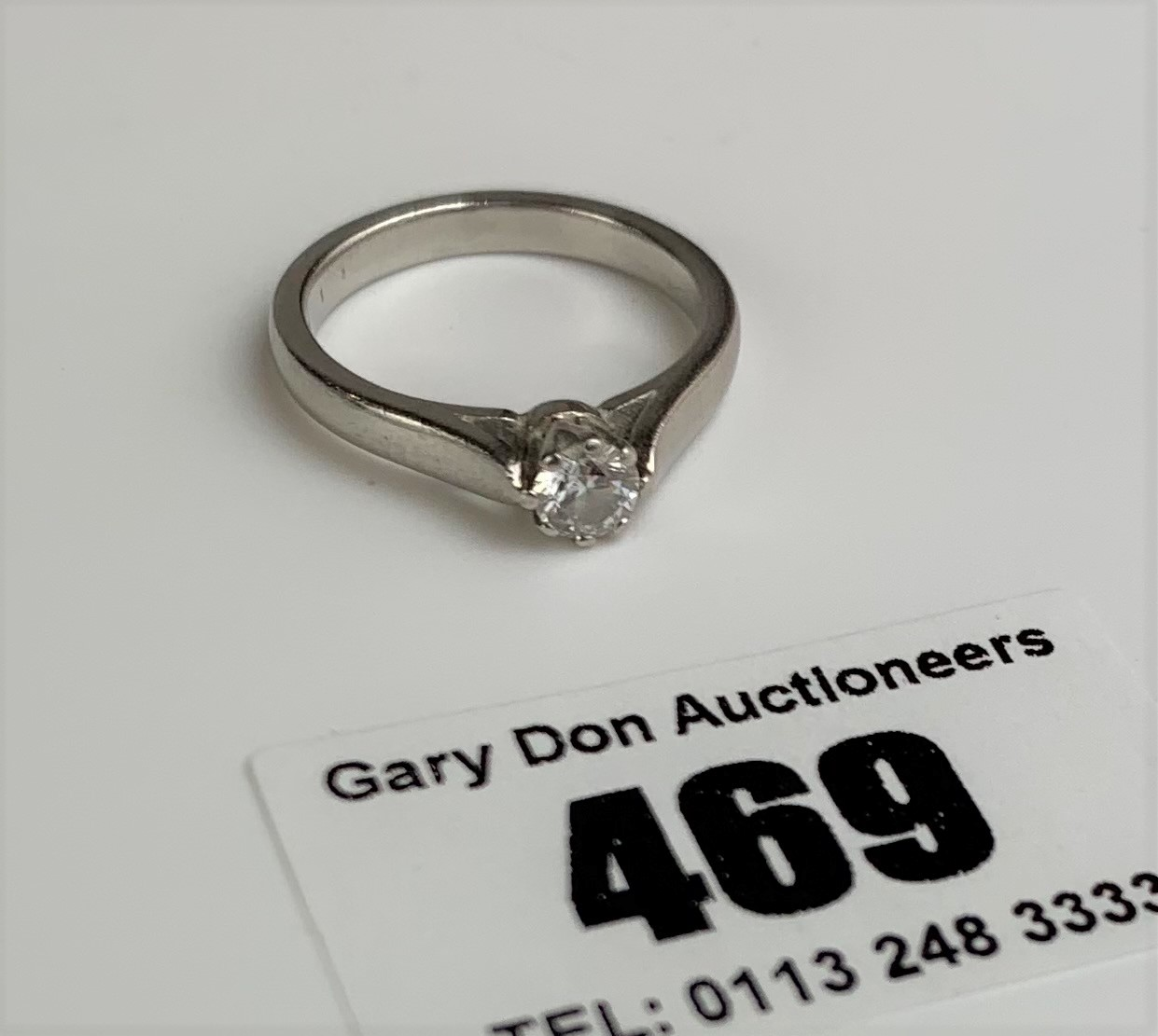 Platinum and diamond ring, size L/M, w: 6 gms