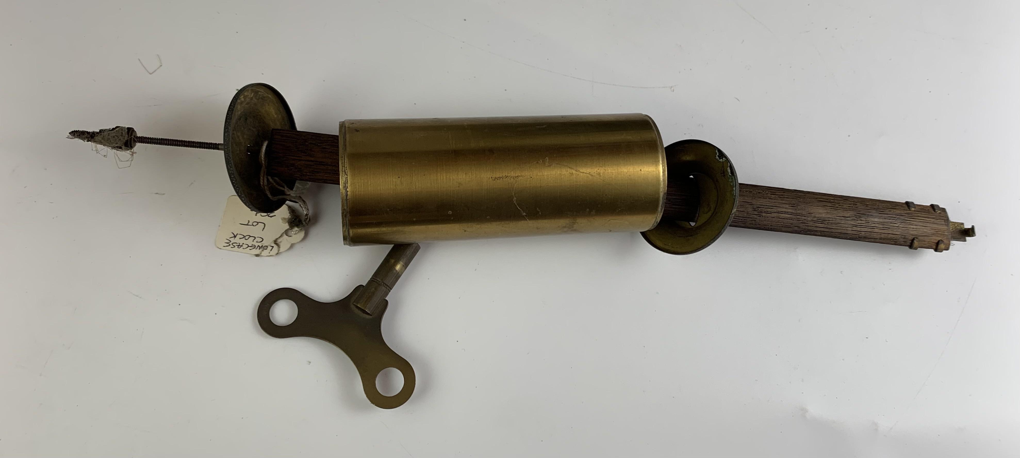 "Oak longcase grandmother clock with brass face, pendulum, key and single weight. Not working. 64"" - Image 8 of 9"