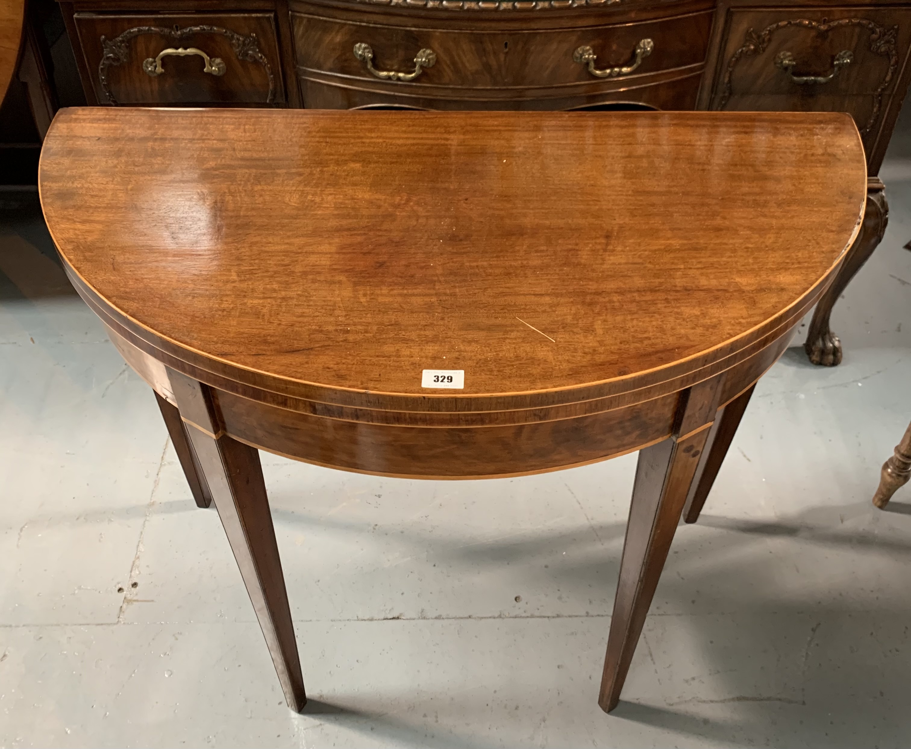 """Demi lune turnover top card table with baize interior, 36"""" wide open, 17.5"""" closed, 36"""" long, 29"""" - Image 3 of 6"""