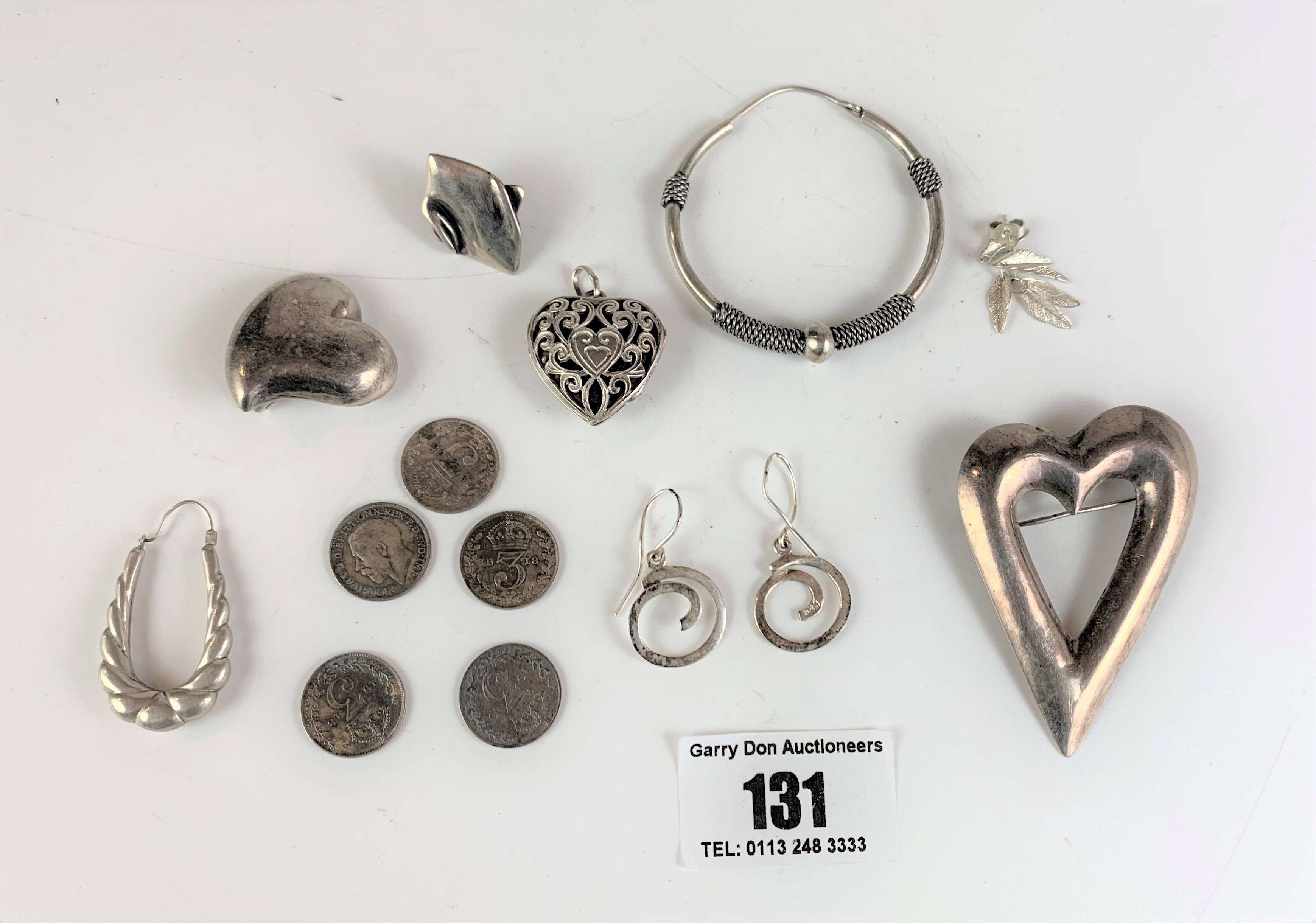 Assorted silver jewellery and coins, total w: 1.3 ozt