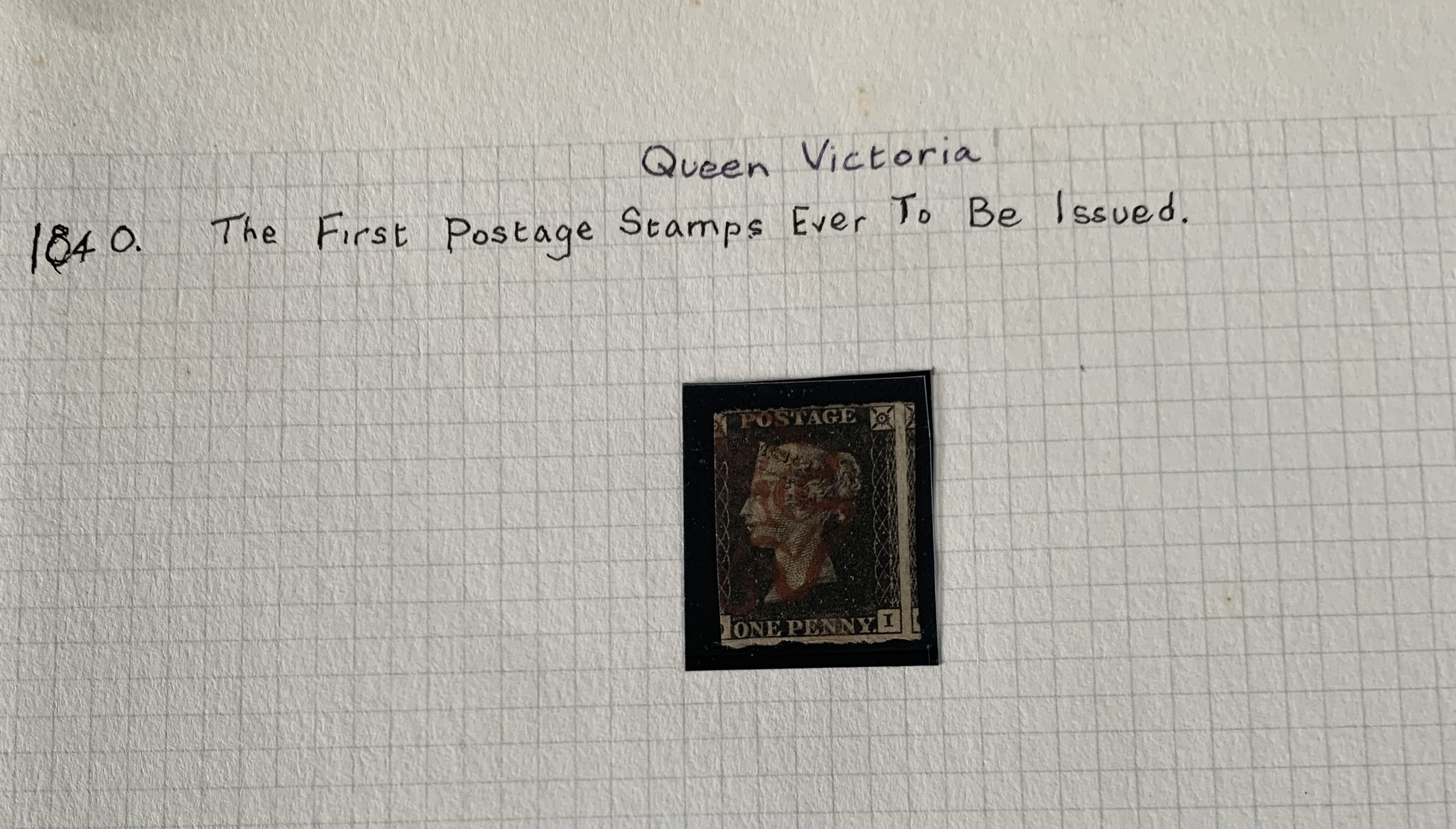 Red GB stamp album including a Penny Black with Maltese Cross stamp - Image 5 of 5