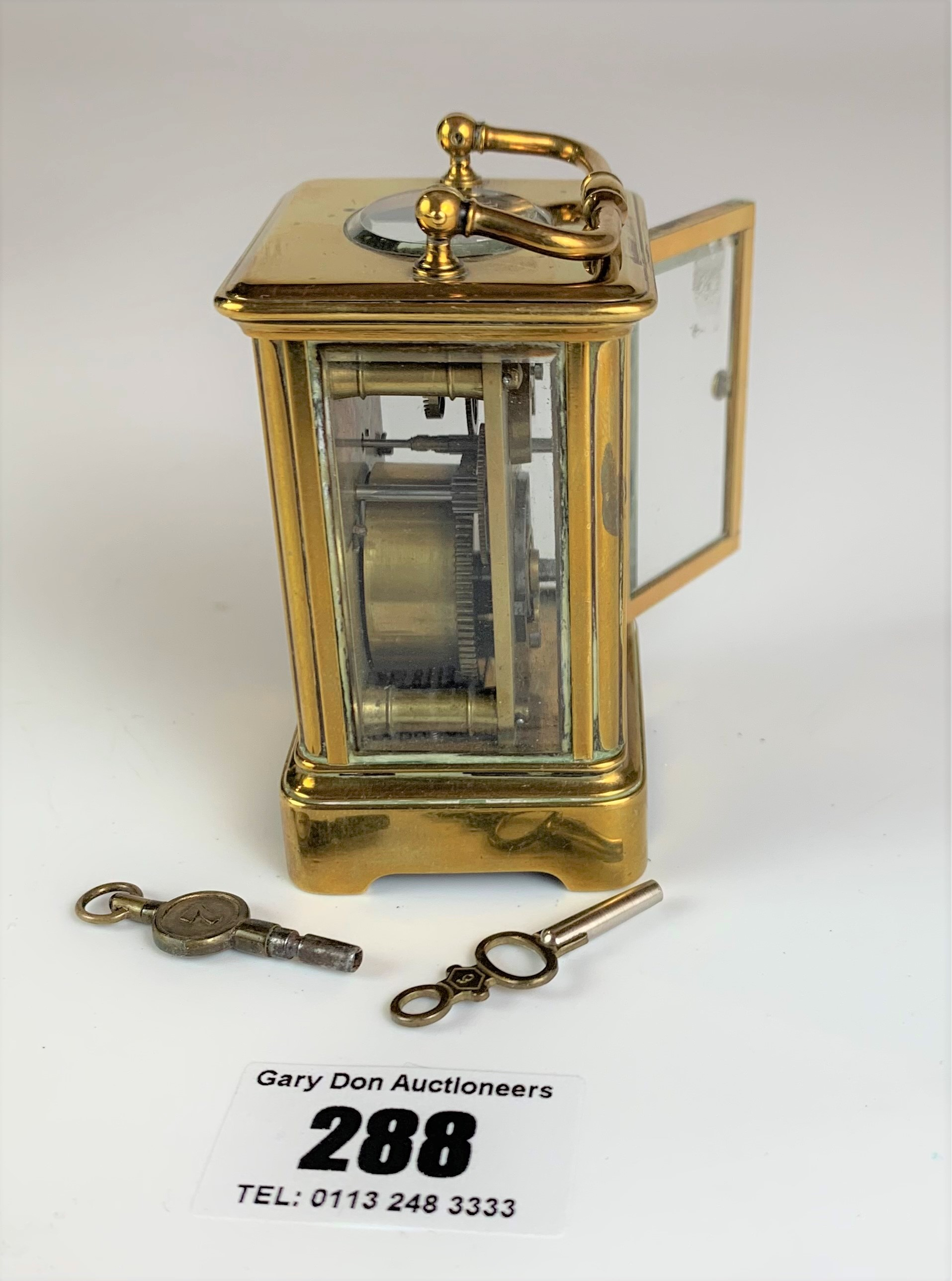 """Miniature brass carriage clock, 3"""" high plus handle. Working with key - Image 8 of 9"""