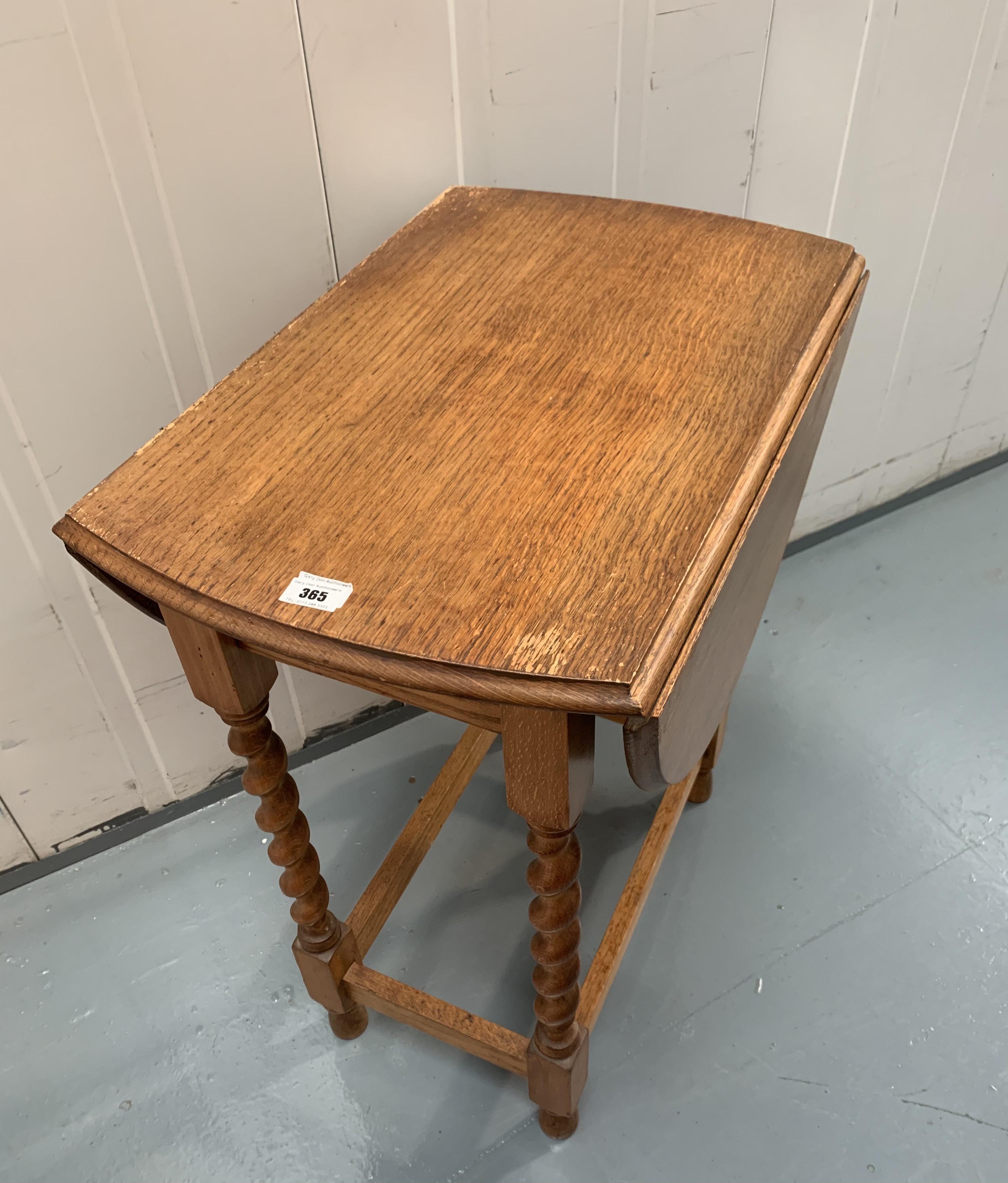 """Oak dropleaf twistleg gateleg table, 36""""open, 16"""" closed, 24"""" wide, 28"""" high - Image 2 of 3"""