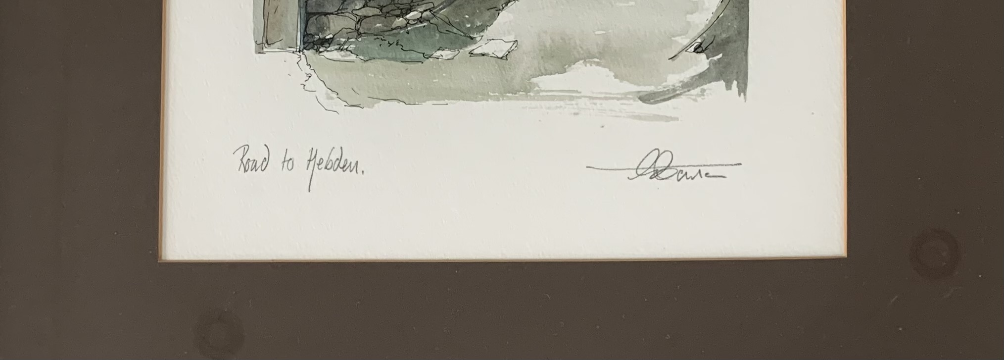 """Drawing/watercolour """"Road to Hebden"""", signed. Image 11"""" x 13"""", frame 18.5"""" x 22"""". Chantry House - Image 2 of 3"""