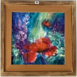 """Acrylic """"Poppies and Delphiniums"""" by Rosemary Abrahams 1998. Image 17.5"""" x 17.5"""", frame 25"""" x 25""""."""