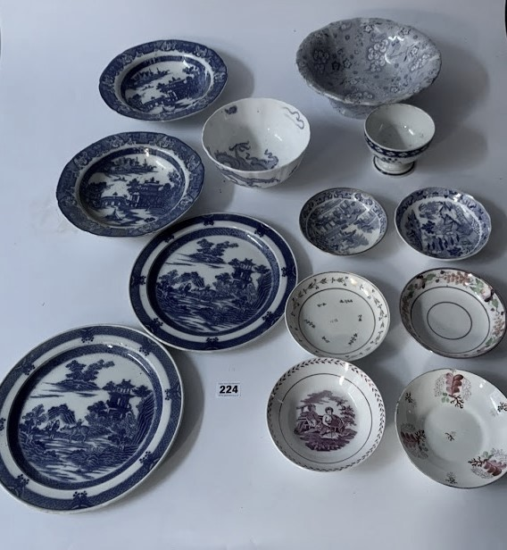 13 assorted blue/white plates and dishes