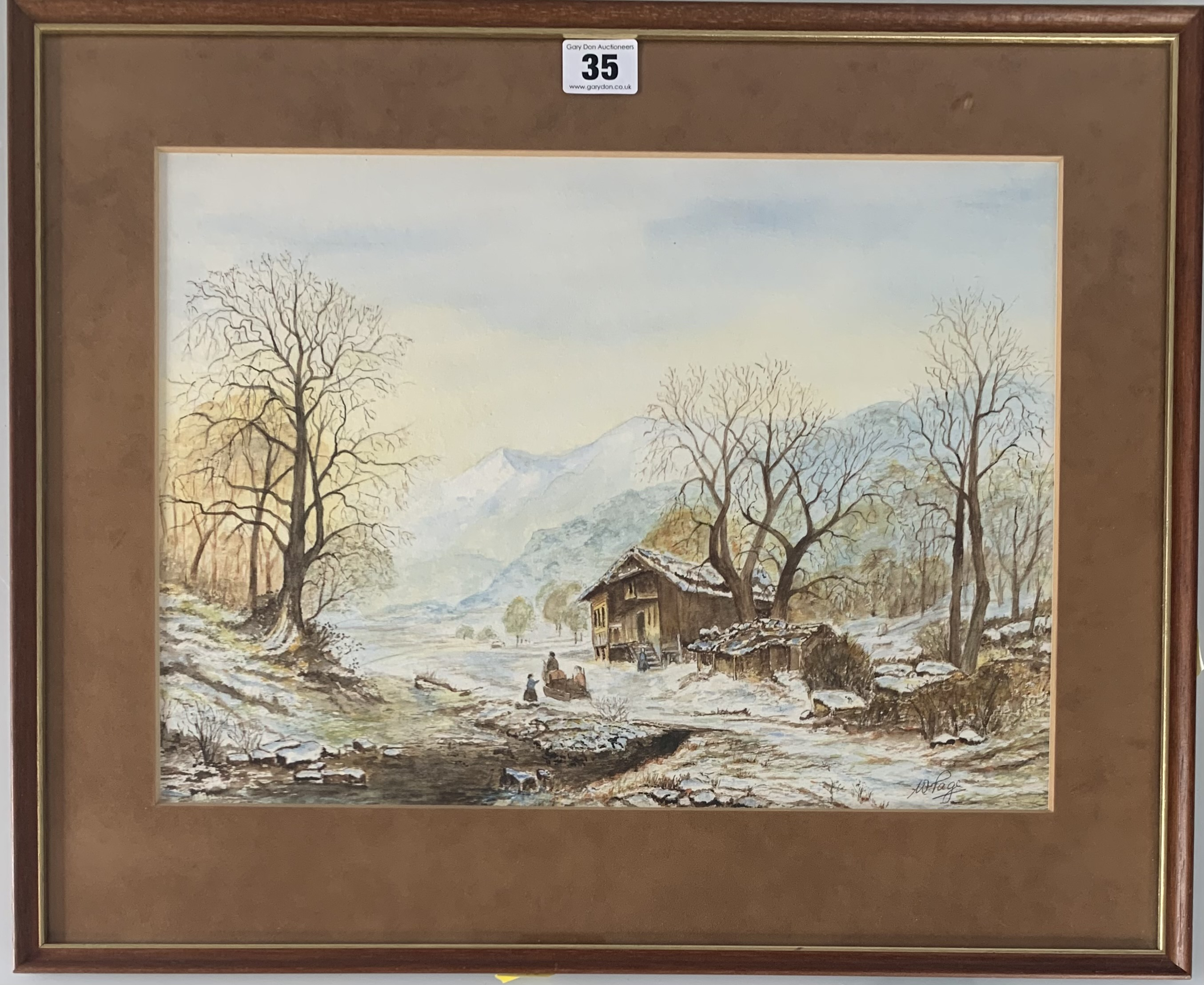 """Watercolour of winter house and landscape by W. Page. Image 15"""" x 11"""", frame 19.5"""" x 16"""". Headrow"""