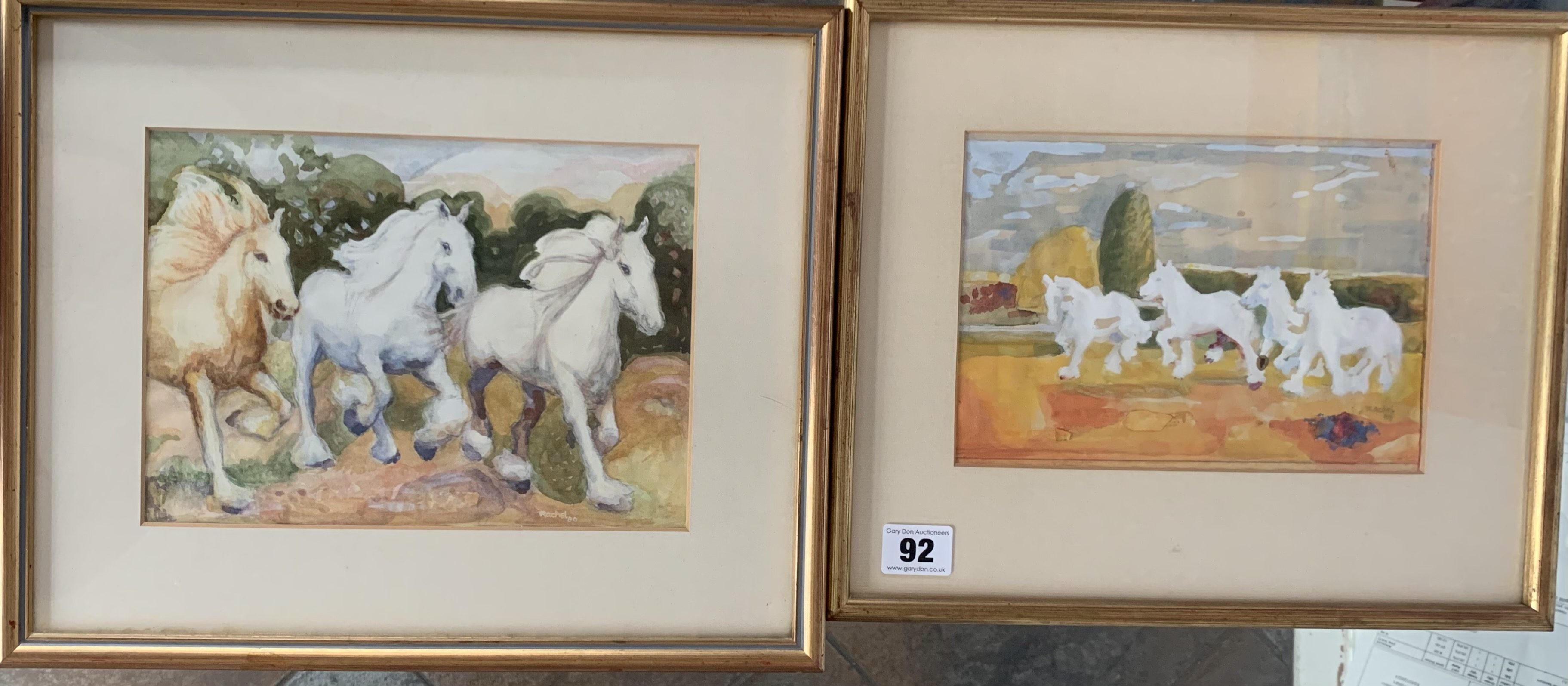 """2 paintings of horses by Rachel, images 8"""" x 5.5"""" & 9"""" x 6.5"""", frames 13"""" x 10.5"""" and 14"""" x 11.5""""."""