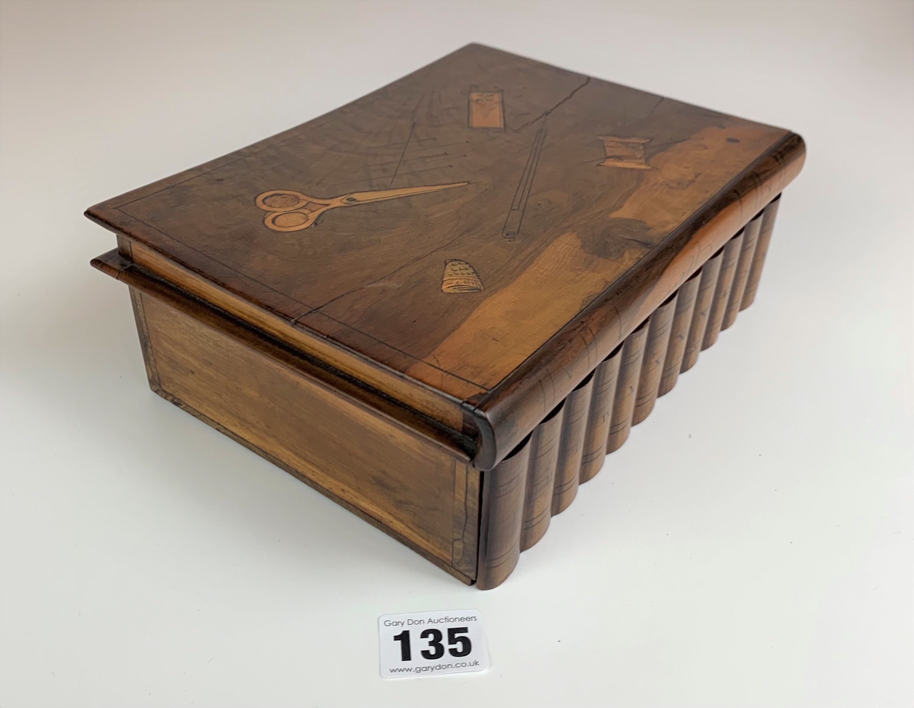 """Walnut book shaped sewing box. 9"""" long x 7"""" wide x 3"""" high - Image 2 of 10"""