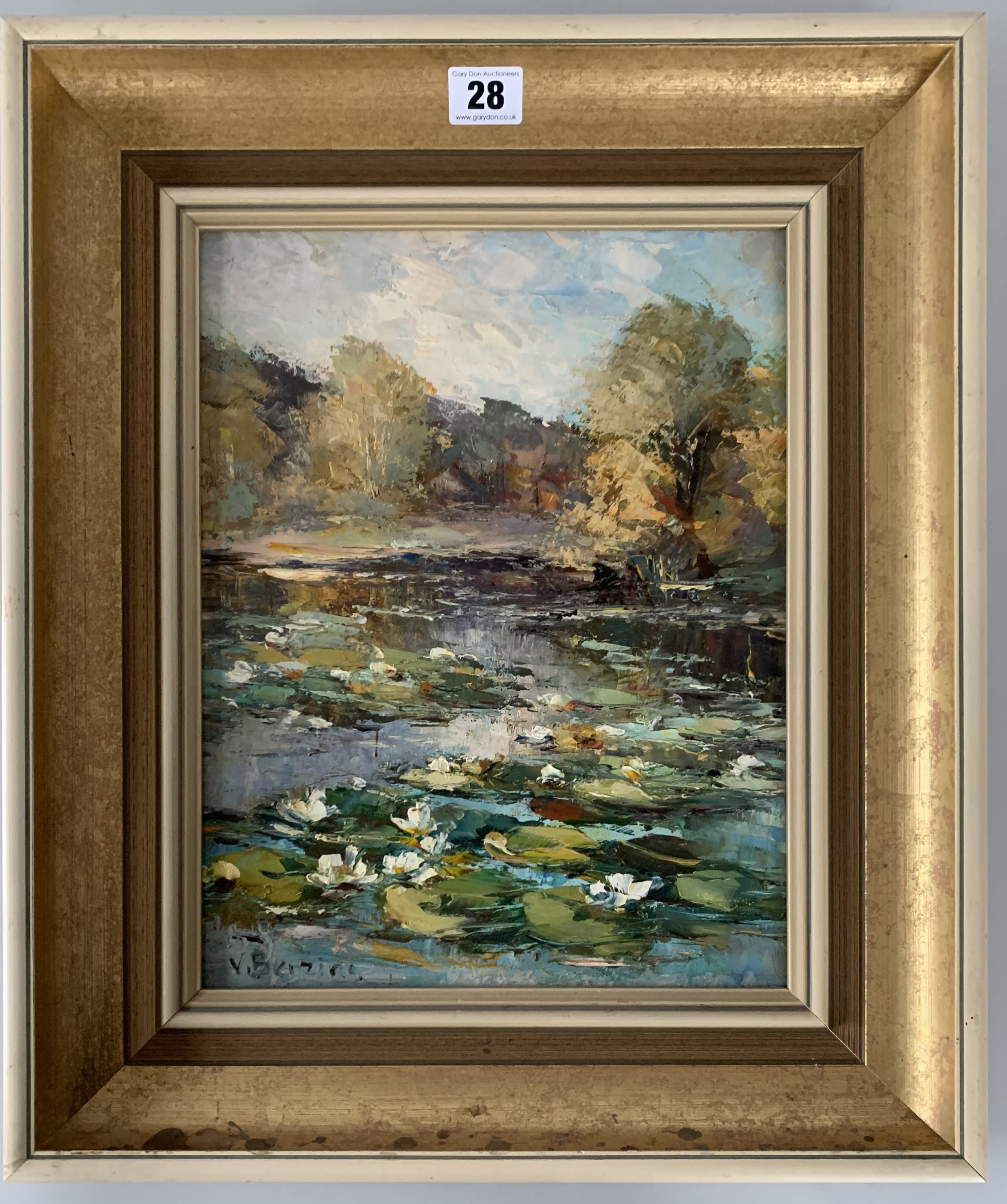 "Oil on board of lily pond by V. Berzins. Image 10"" x 13"", frame 15.5"" x 18.5""."