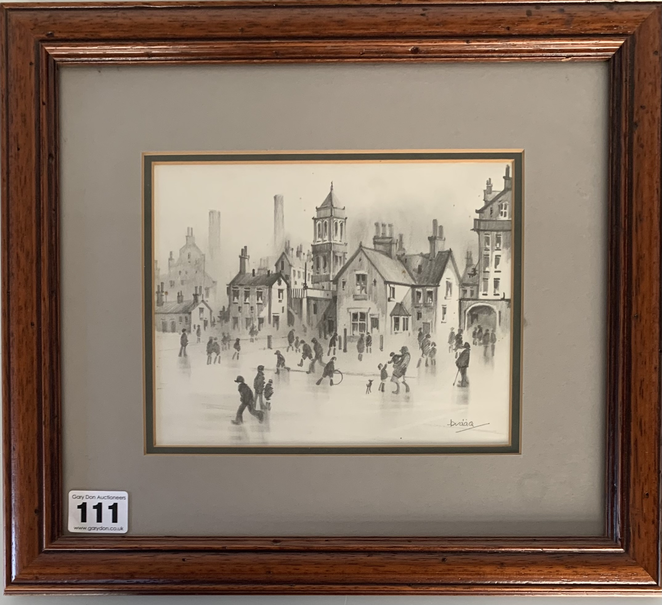 Brian Shields (Braaq) pencil sketch of town scene with figures in foreground. Signed 'braaq'.