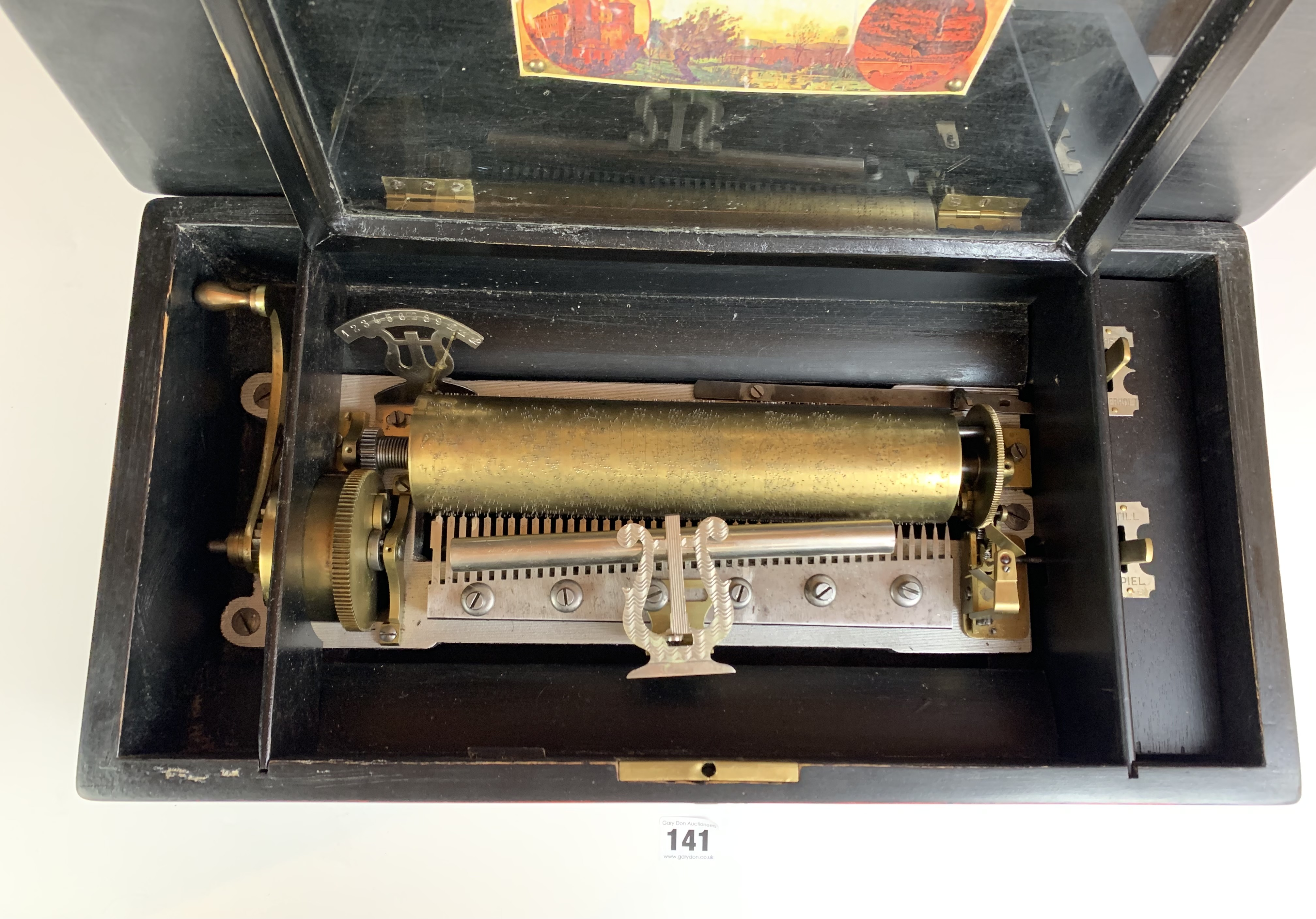 """Antique Victorian wind up cylinder music box, 18"""" long x 10"""" wide x 7"""" high. Crack in lid. - Image 5 of 5"""