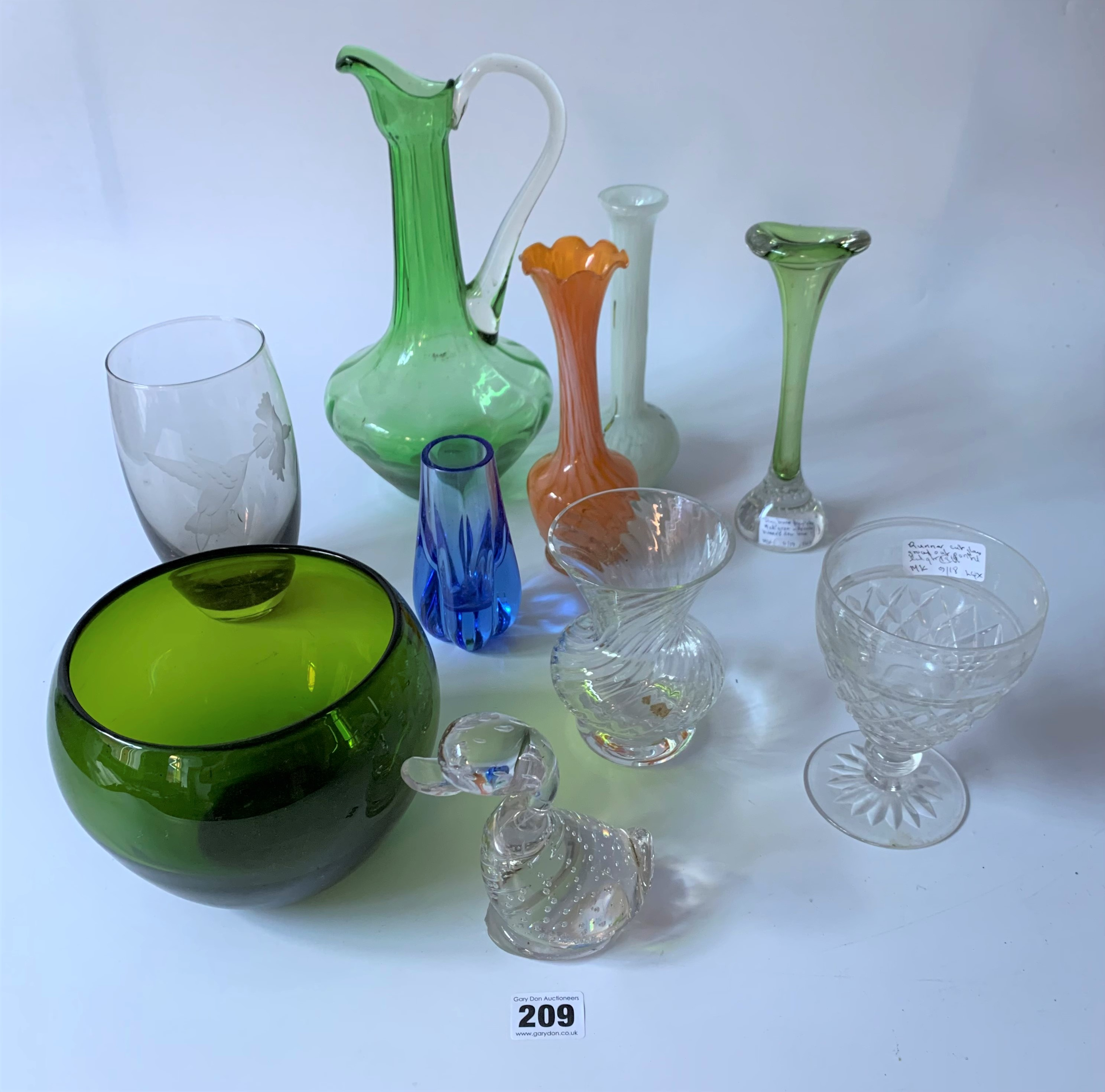 Assorted coloured and etched glassware
