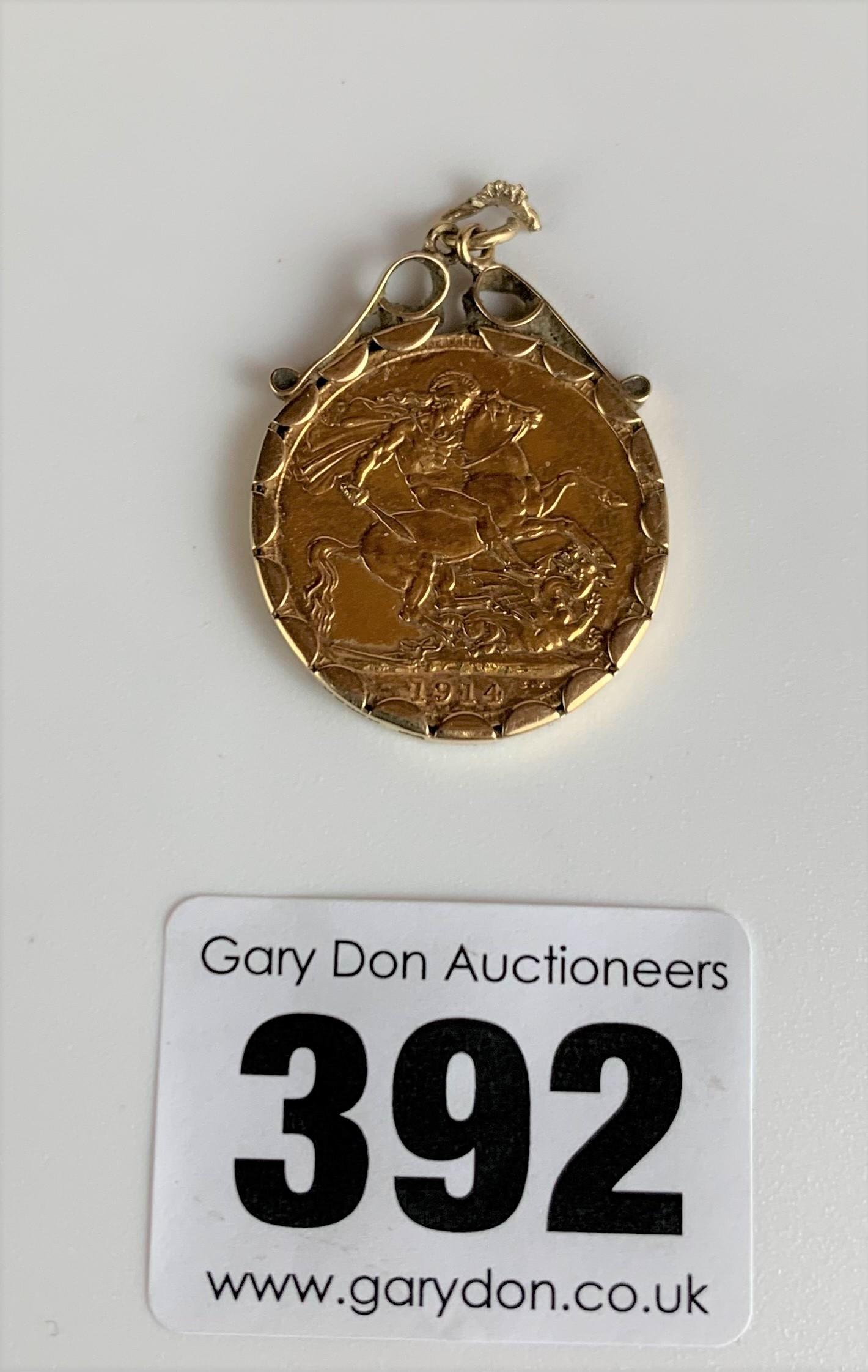Full sovereign 1914 in 9k gold holder, total w: 9.1 gms - Image 2 of 2