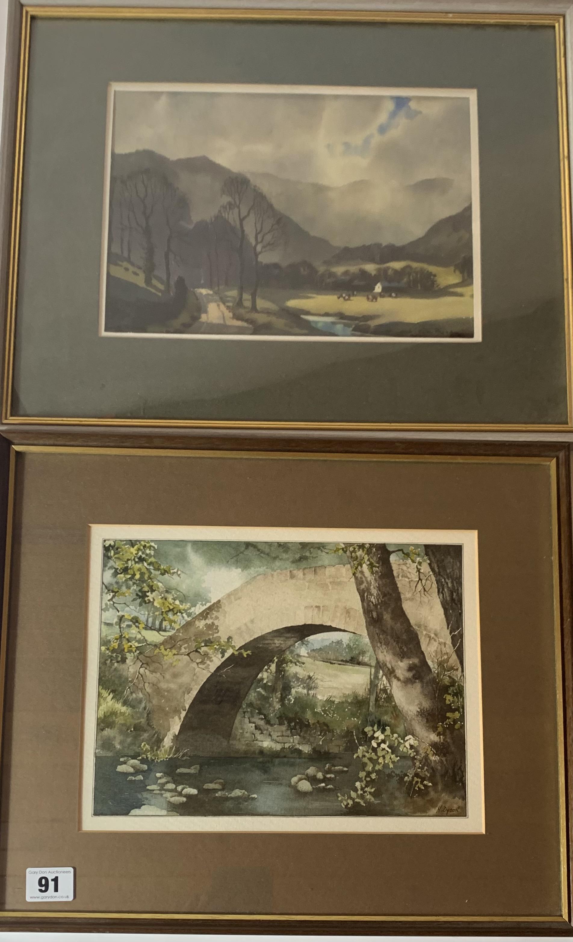 "2 Watercolours - landscape by Ebenezer John Woods Prior. Image 10.5"" x 8"", frame 17"" x 14""."
