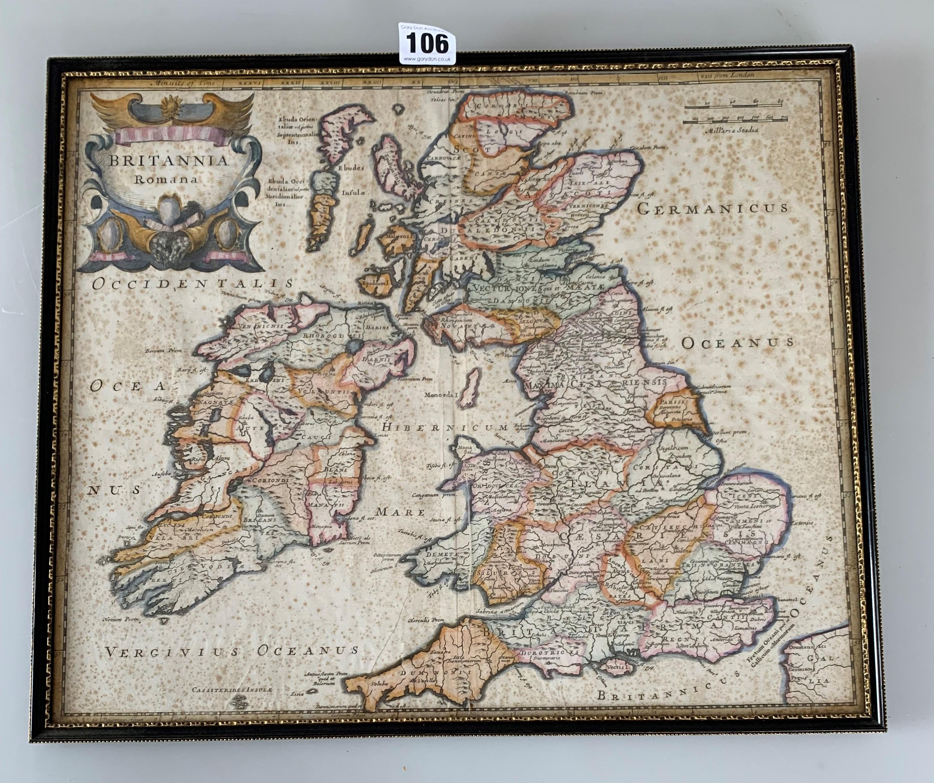 "Old map 'Britannia Romana' 1695, image 16.5"" x 14"", frame 17.5"" x 15"""
