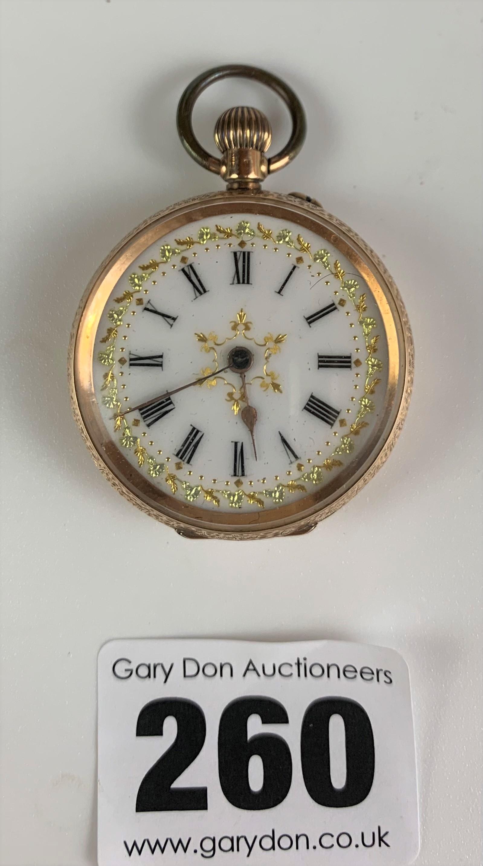 """14k gold embossed ladies fob watch, diameter 1.5"""", total w: 29.4 gms. Working"""