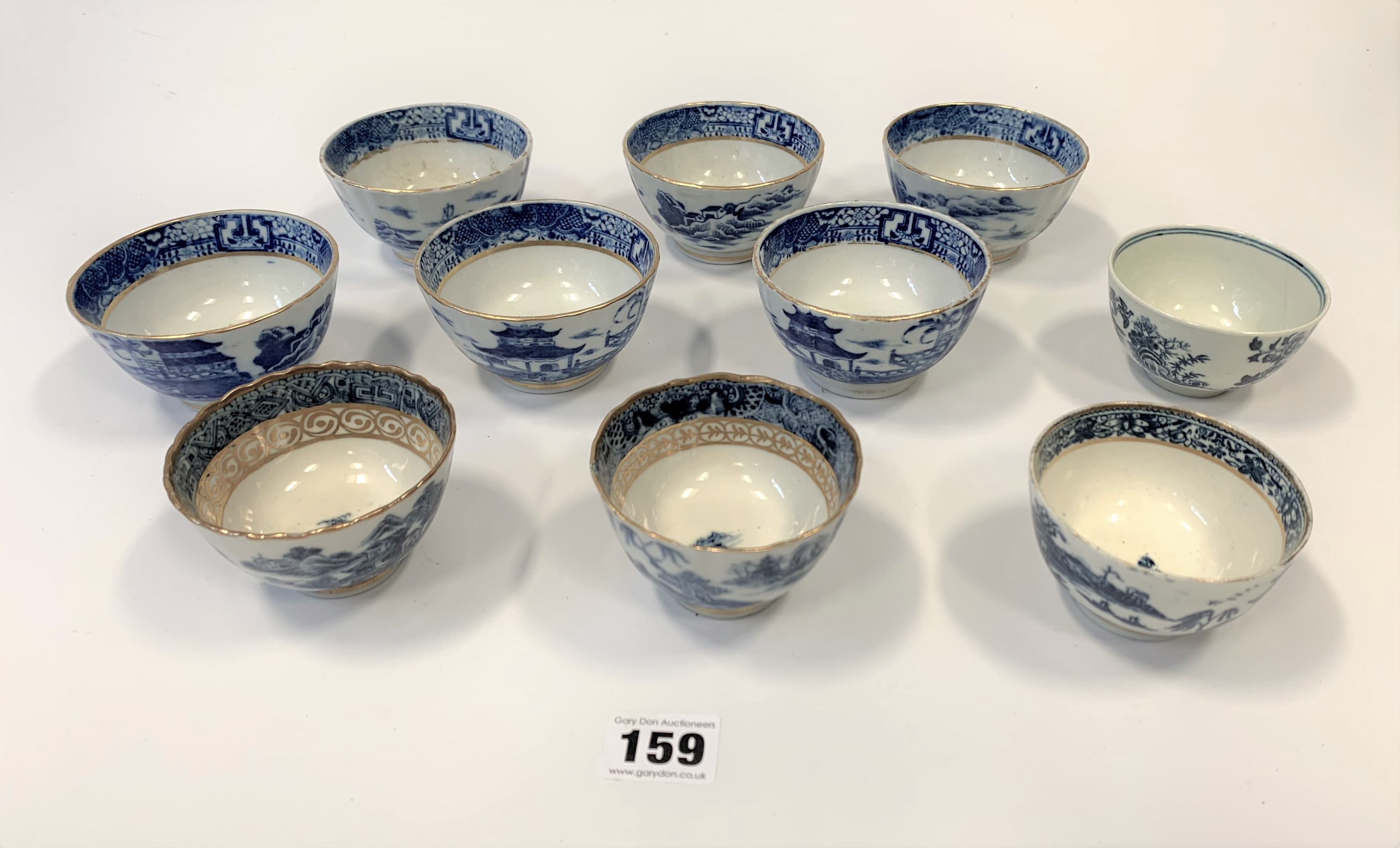 10 assorted blue/white cups