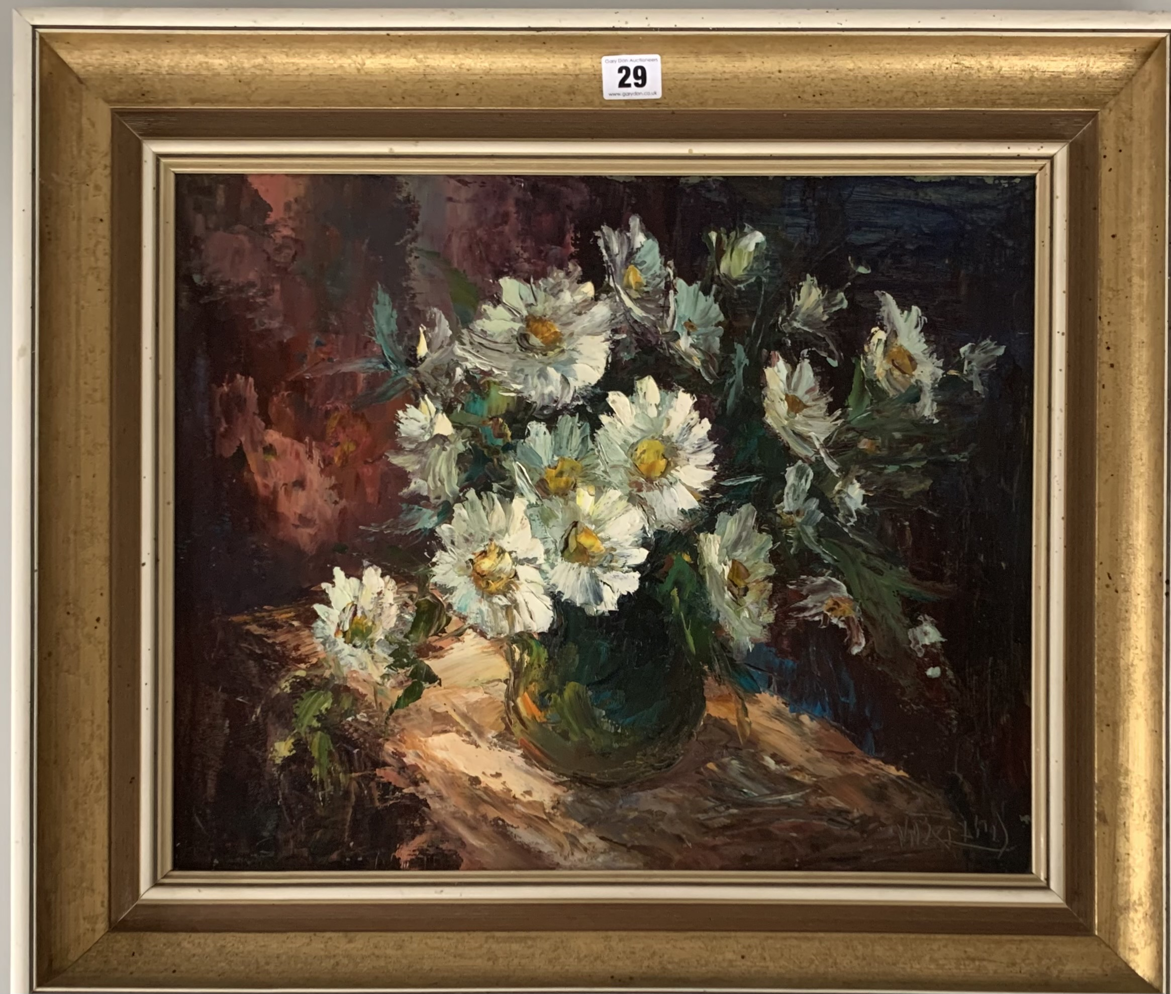 "Oil on board of flowers in vase by V. Berzins. Image 18"" x 15"", frame 24"" x 20.5"""