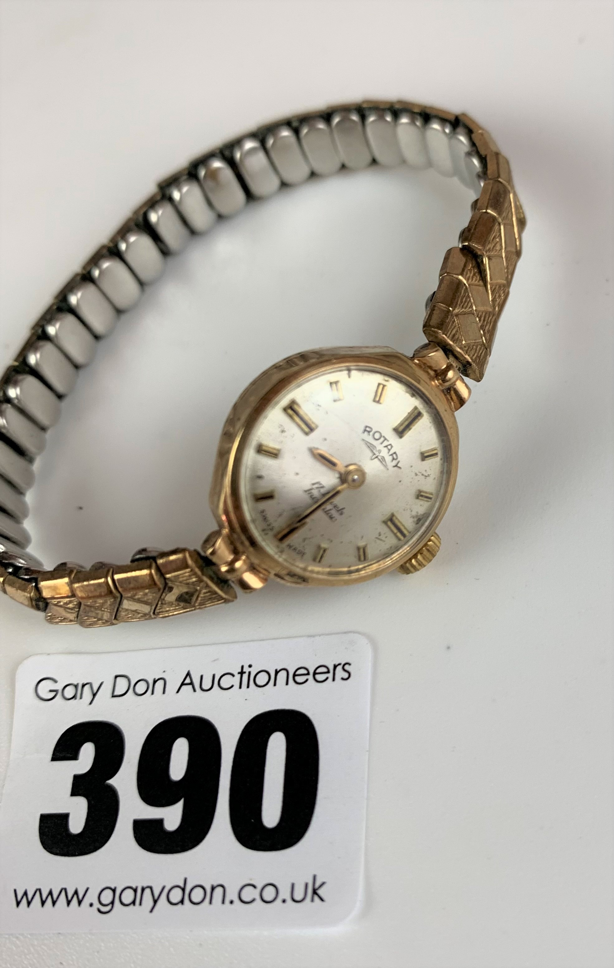 9k gold ladies Rotary watch with elasticated plated strap, total w: 15.3 gms, not working (pv £35) - Image 2 of 3