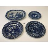 """4 blue/white plates 12"""", 9.5"""", 9"""" & 7"""" (chipped)"""