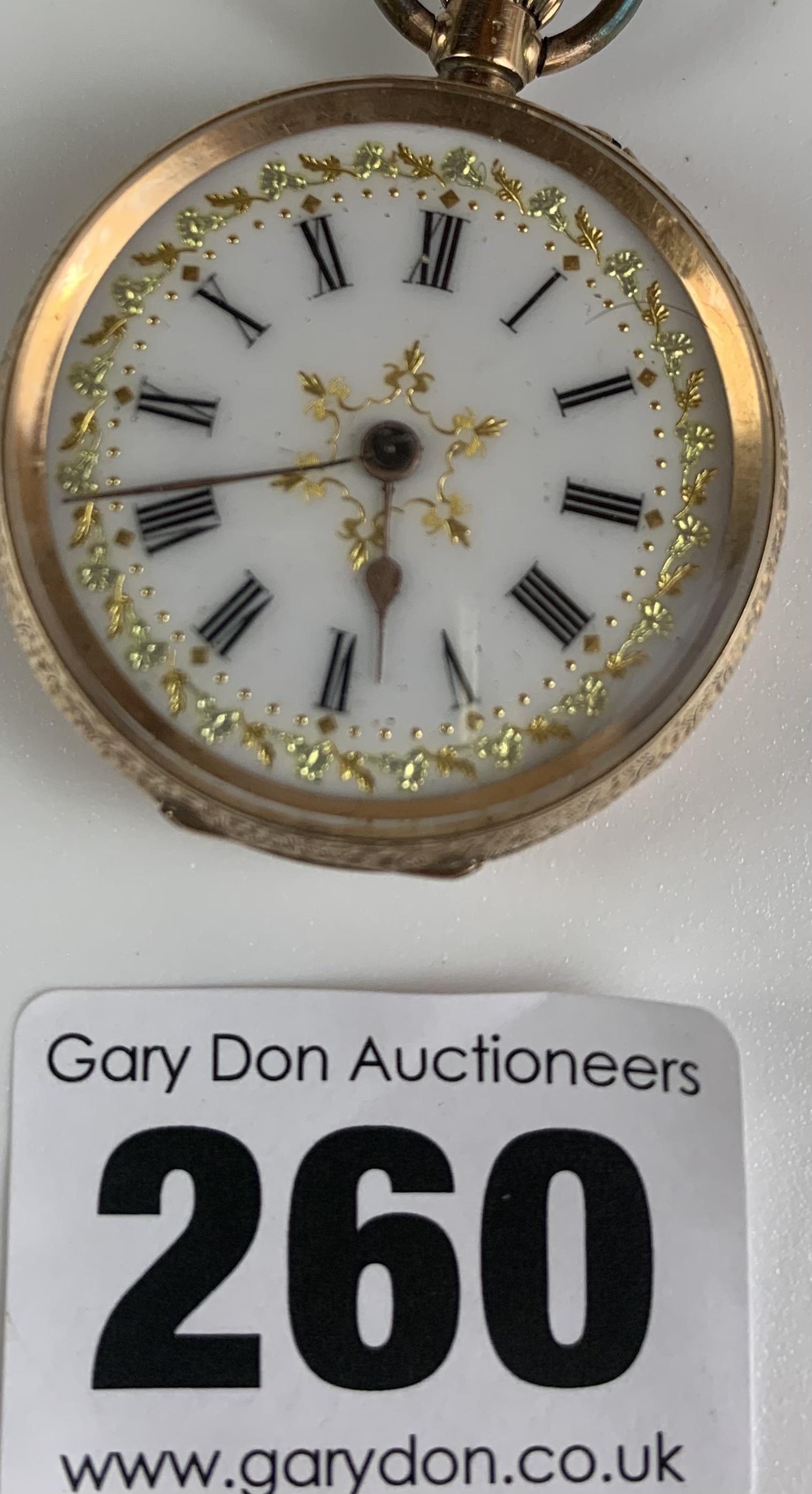 "14k gold embossed ladies fob watch, diameter 1.5"", total w: 29.4 gms. Working - Image 6 of 6"