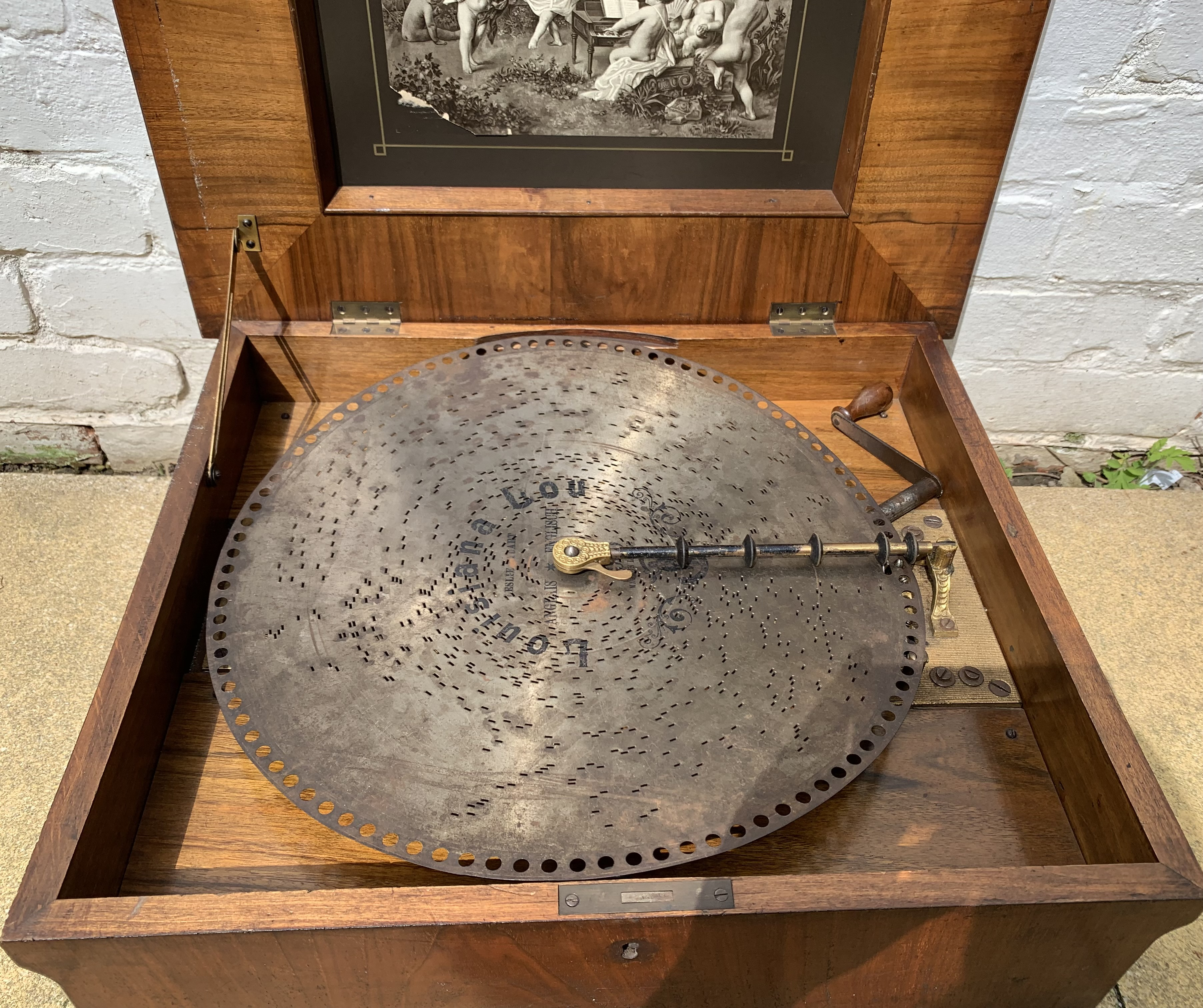 """Antique Polyphon music box in inlaid box, 21"""" long x 18"""" wide with 8 discs. Working - Image 5 of 15"""