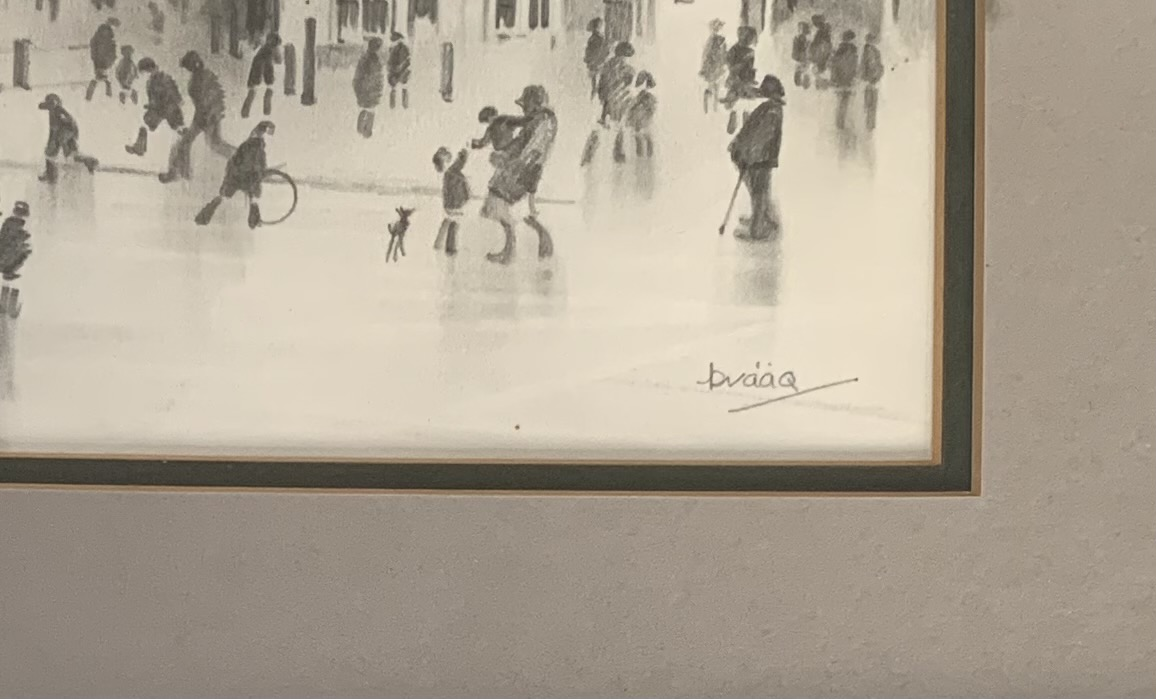 Brian Shields (Braaq) pencil sketch of town scene with figures in foreground. Signed 'braaq'. - Image 2 of 3