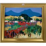 """Acrylic on board """"Luberon Hills, Provence"""" by M. Saville '98, image 23.5"""" x 19.5"""", frame 29.5"""" x"""