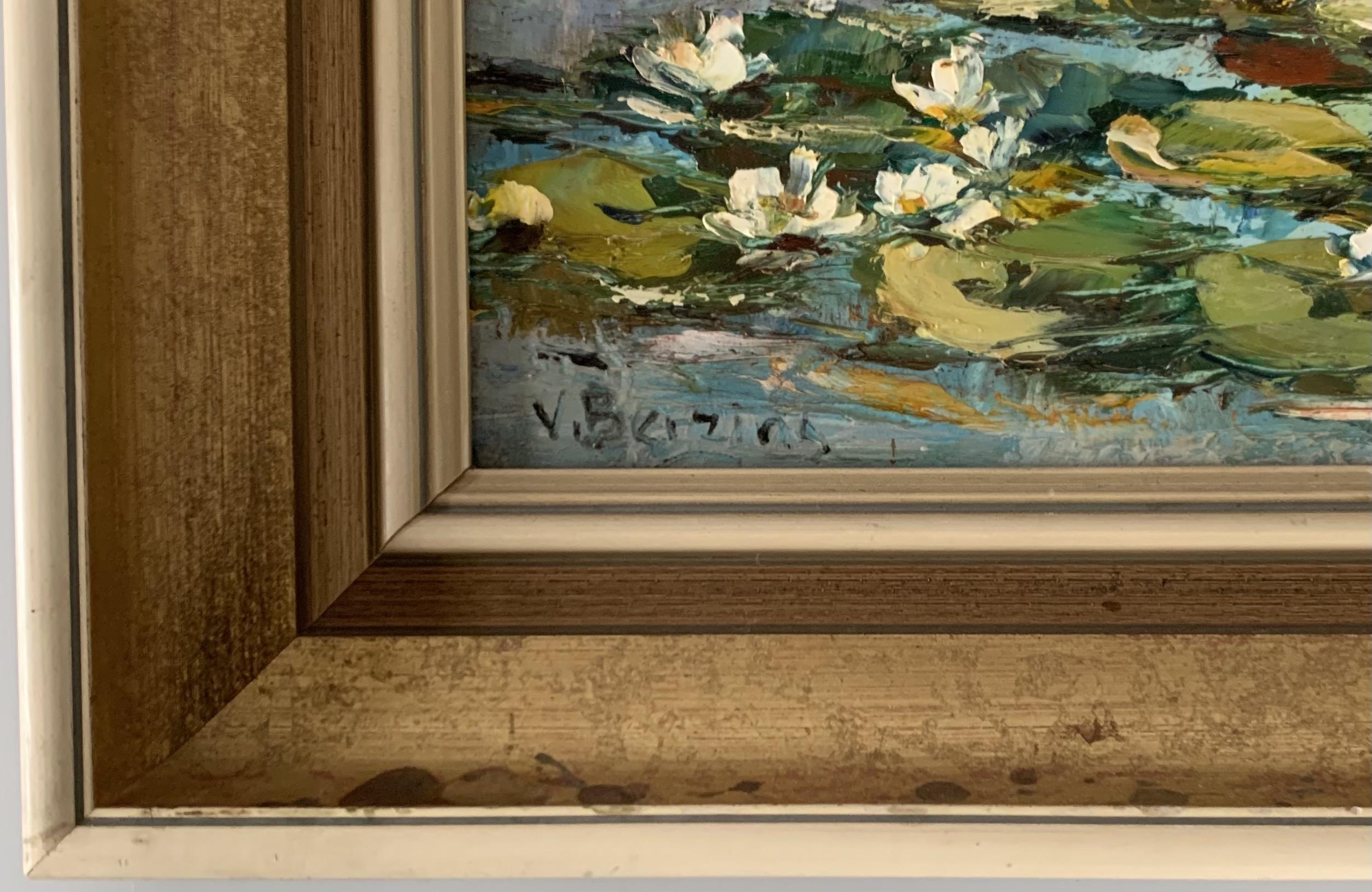 "Oil on board of lily pond by V. Berzins. Image 10"" x 13"", frame 15.5"" x 18.5"". - Image 2 of 3"