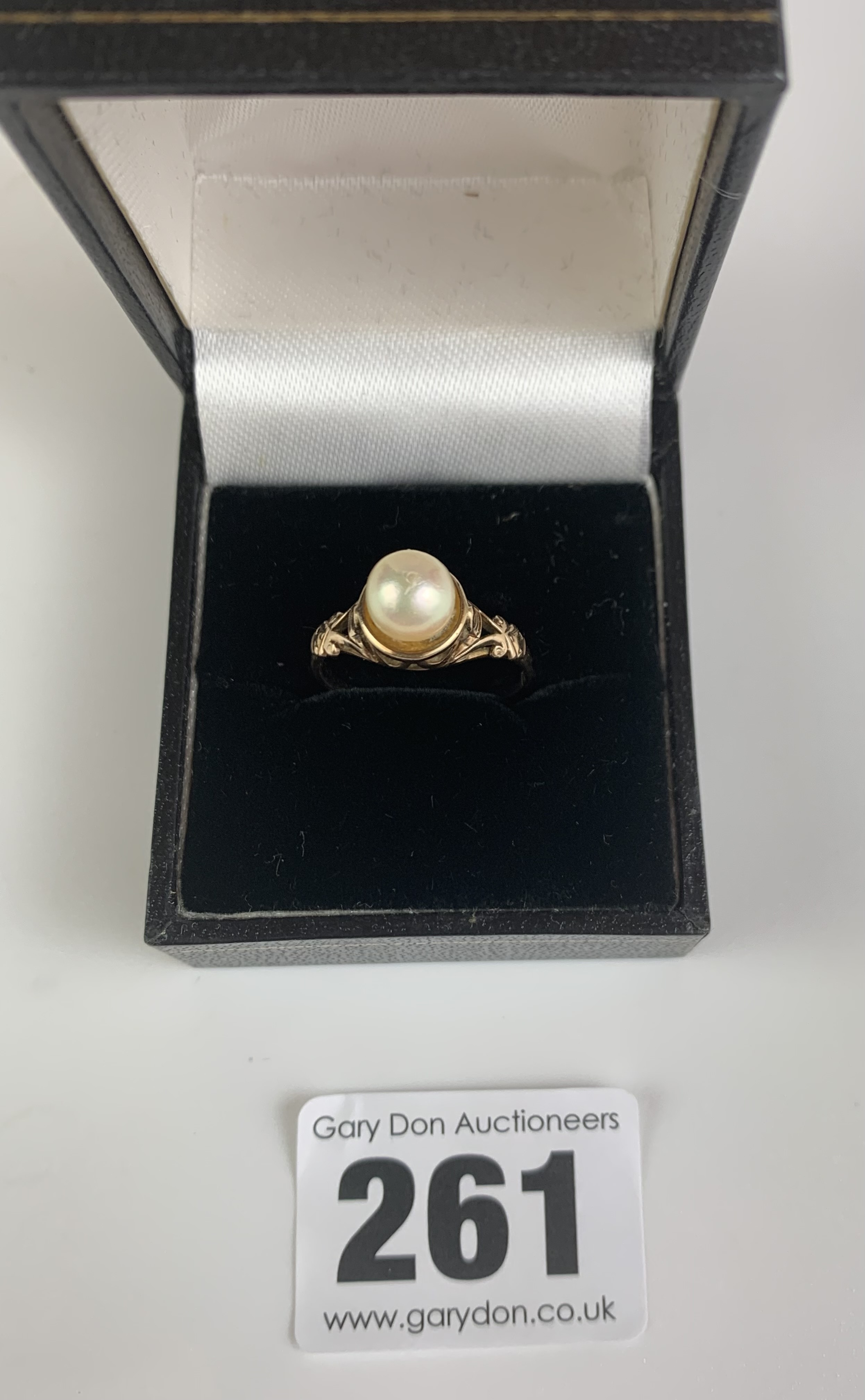 9k gold and pearl ring, size M, w: 2.4 gms - Image 2 of 6