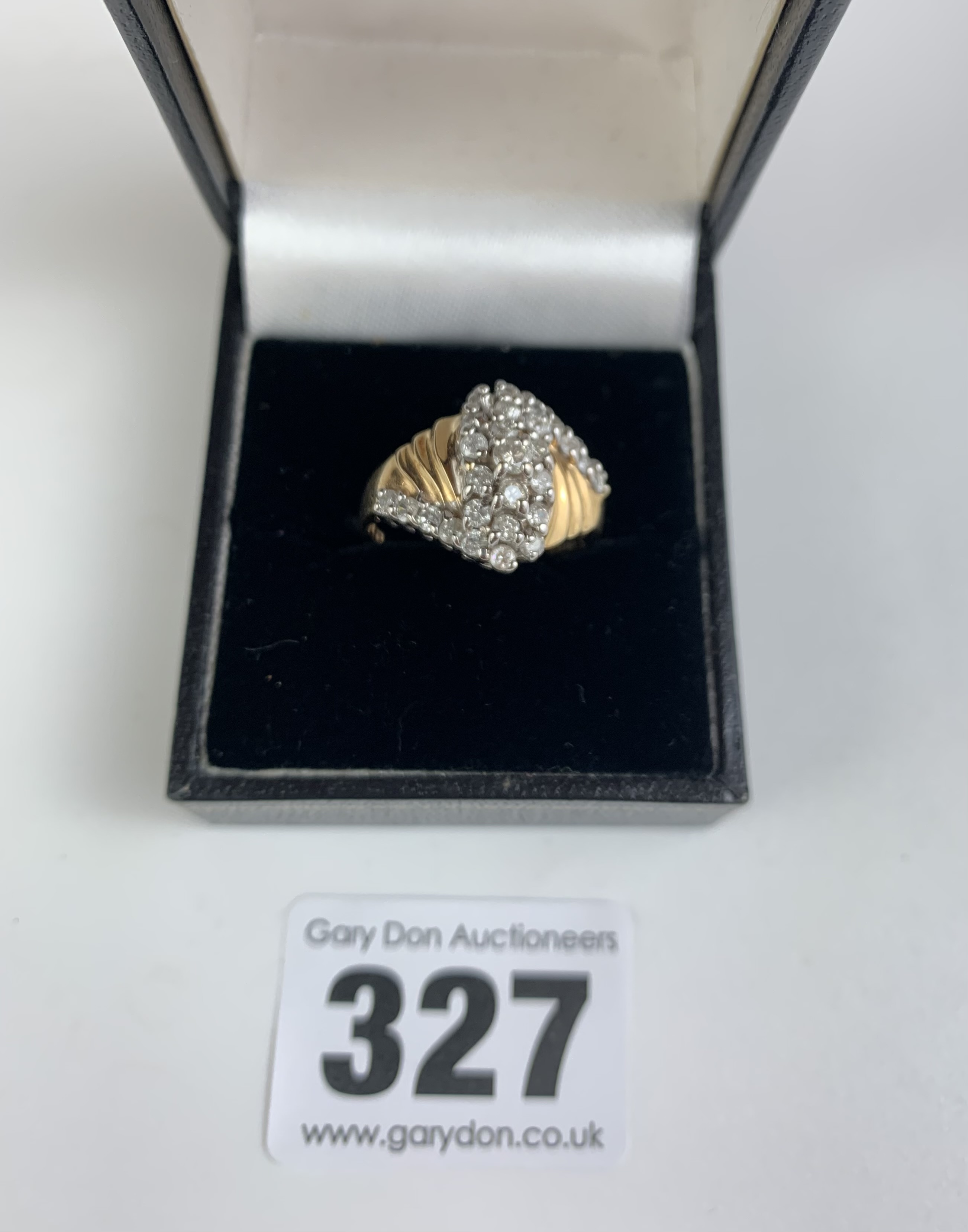 14k gold and white stone dress ring, size P/Q, w: 4.3 gms