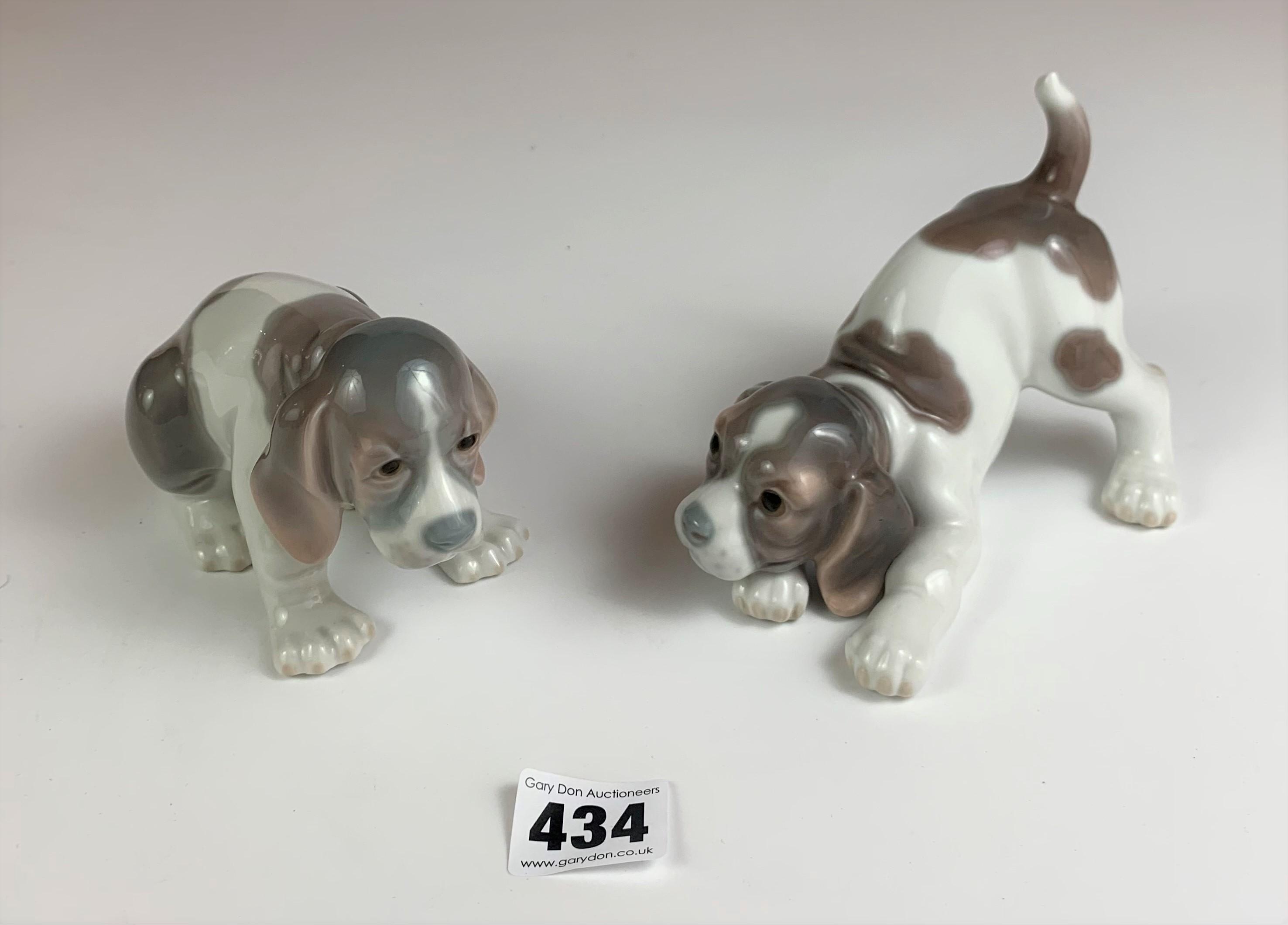 """Pair of Lladro puppies, 5"""" & 6"""" long. No damage"""