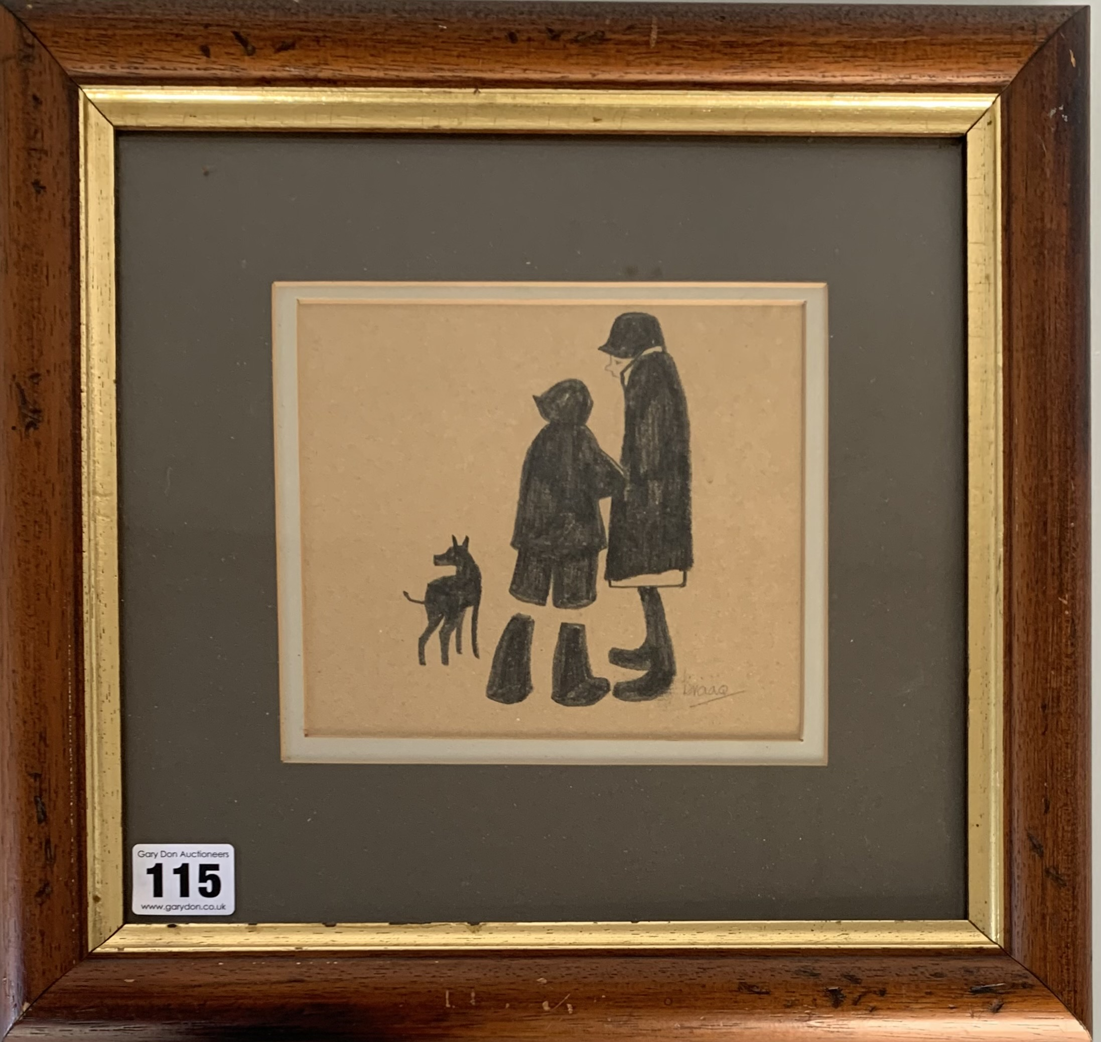 "Brian Shields (Braaq) pencil drawing of woman, boy and dog, signed 'braaq'. Image 6.25"" x 5.25"","