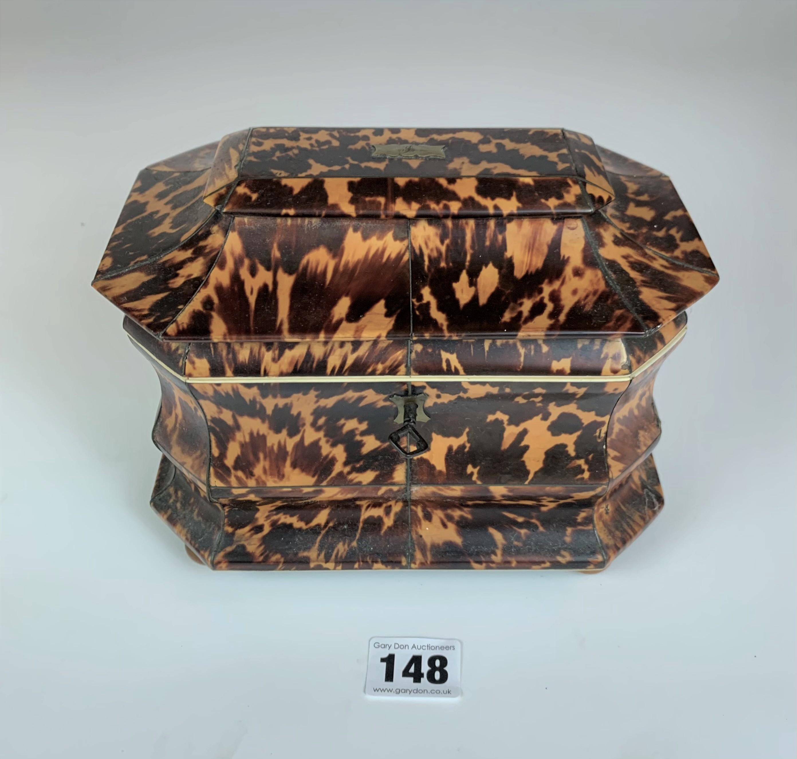 "Regency Tortoiseshell veneered tea caddy with twin compartment, c. 1820. Lid damaged. 7.5"" long x 5"""