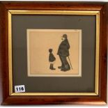 """Brian Shields (Braaq) pencil drawing of old man and girl, signed 'braaq'. Image 6.25"""" x 5.25"""", frame"""