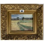"""Oil on board of fields by Siddall, image 7"""" x 5"""", frame 11.75"""" x 10"""". Chantry House Gallery, Ripley."""