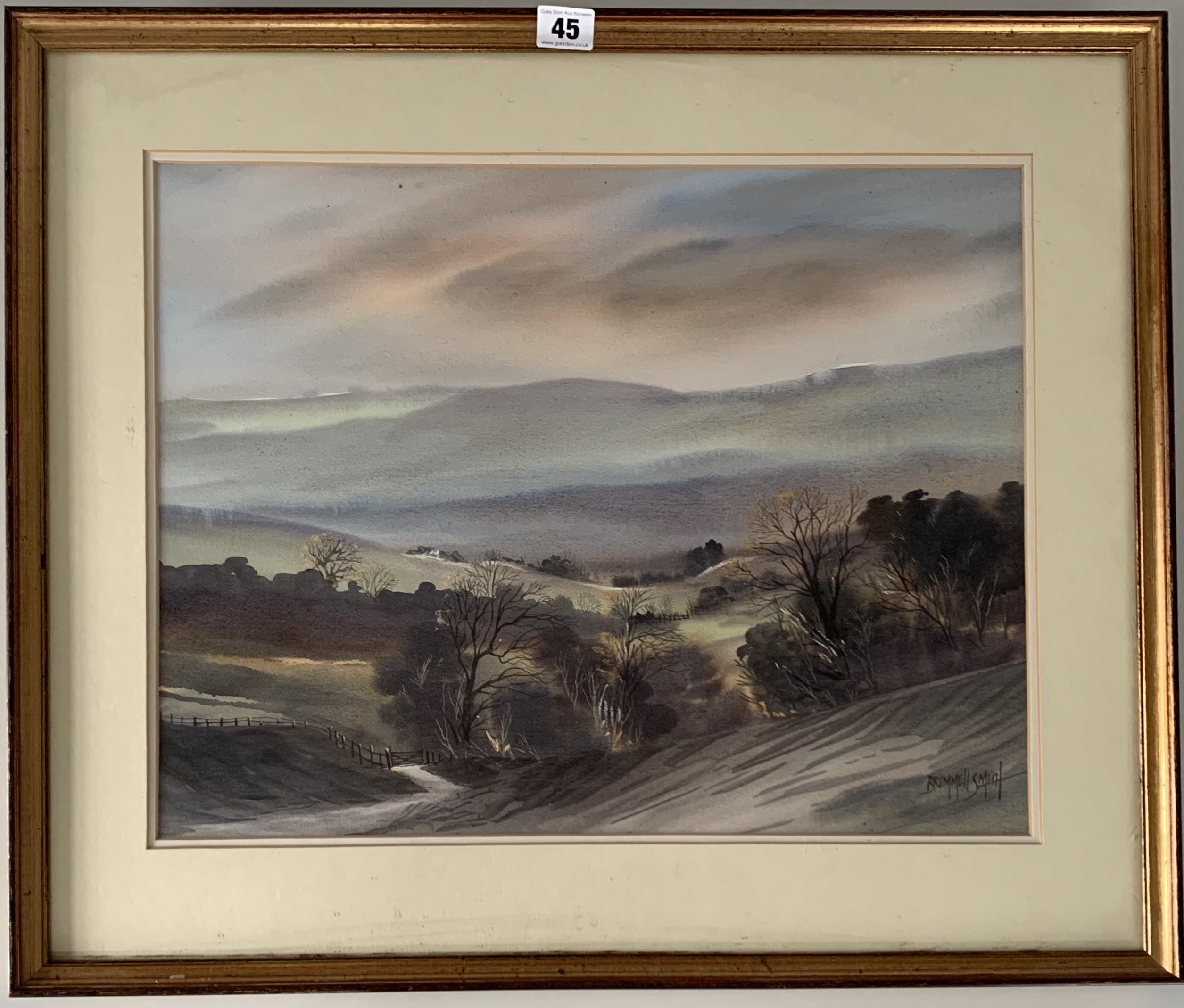 """Watercolour """"Early Morning, Nidderdale"""" by Tony Brummel Smith. Image 19"""" x 14.5"""", frame 25"""" x 21"""""""