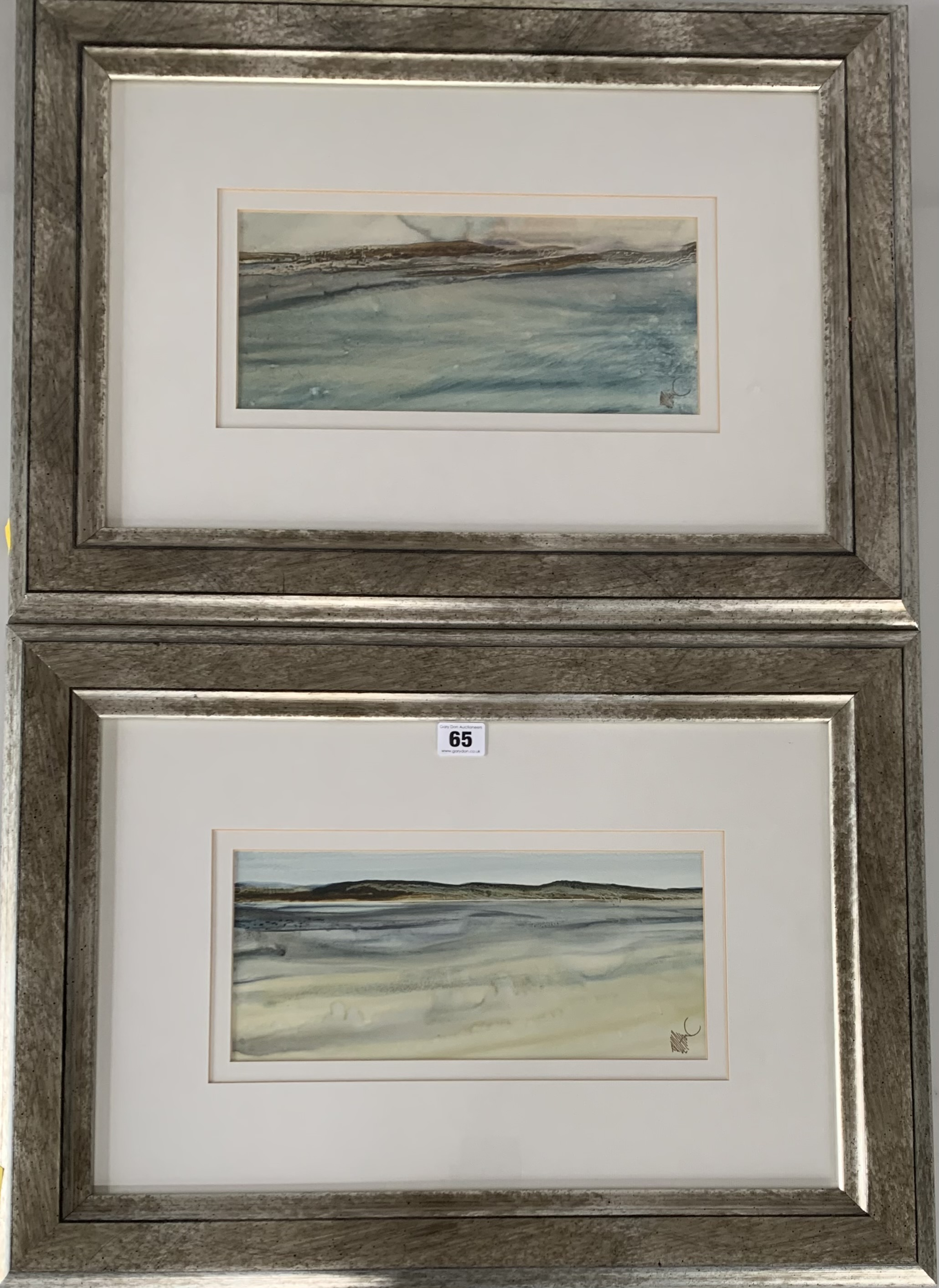 """Pair of watercolours """"Donegal Coast II"""" and """"Donegal Coast III"""" by Tony Holahan. Images 12"""" x 5."""