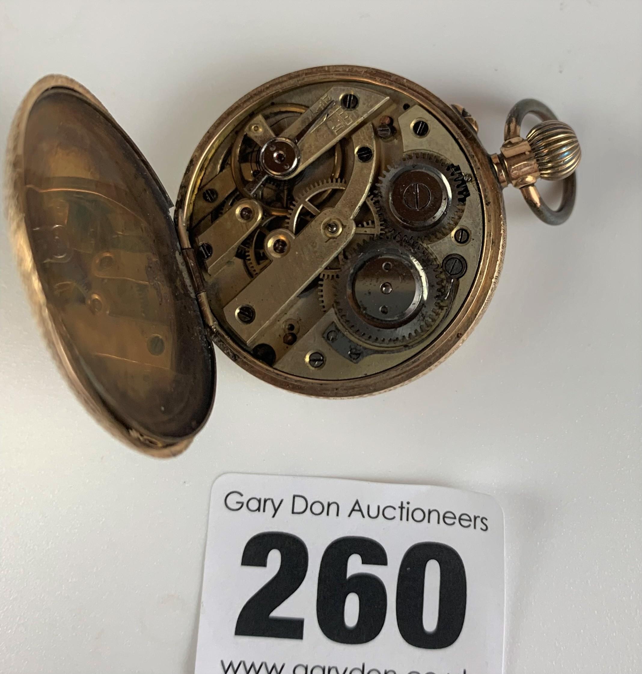 "14k gold embossed ladies fob watch, diameter 1.5"", total w: 29.4 gms. Working - Image 4 of 6"