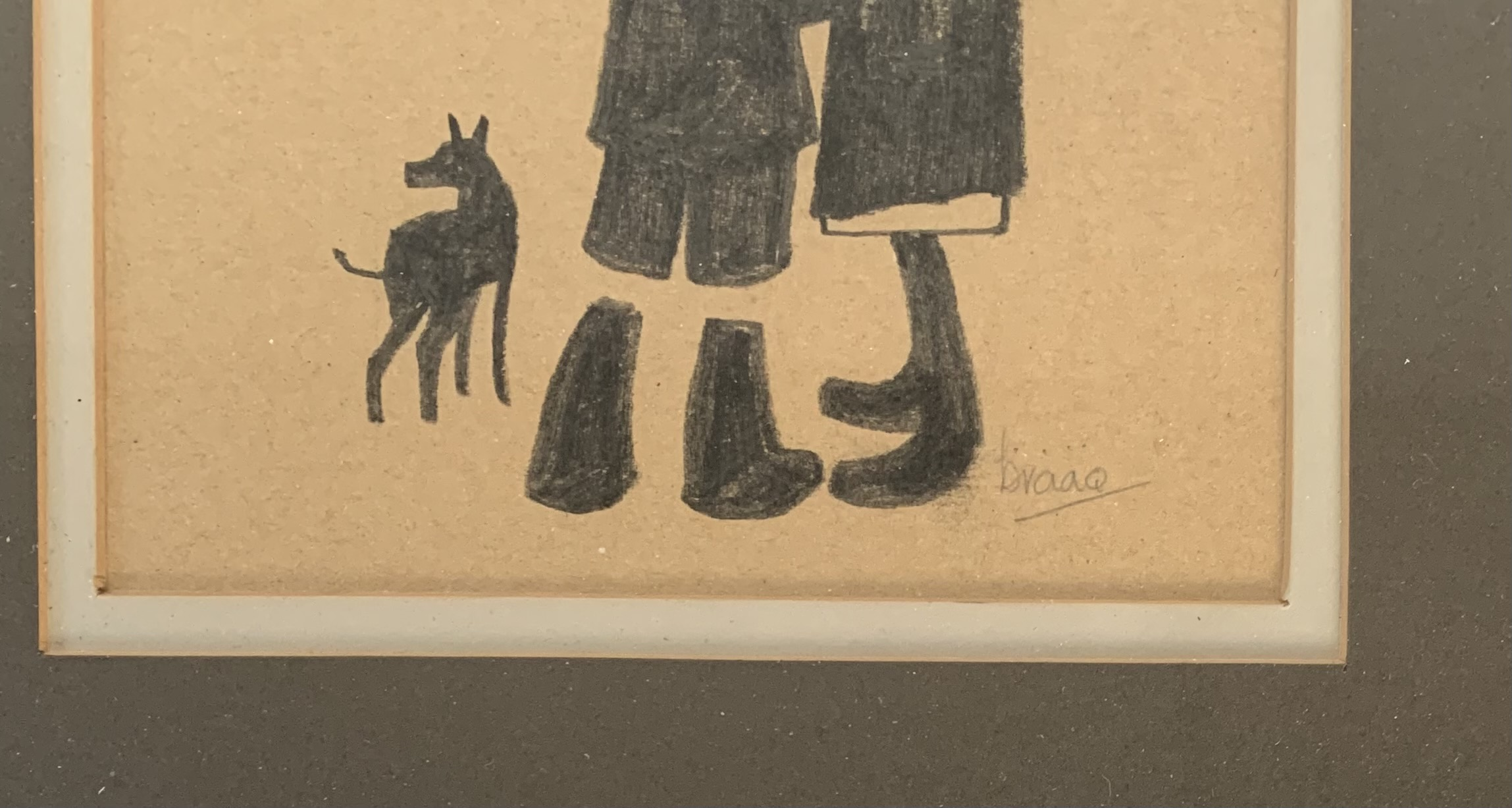 """Brian Shields (Braaq) pencil drawing of woman, boy and dog, signed 'braaq'. Image 6.25"""" x 5.25"""", - Image 2 of 3"""