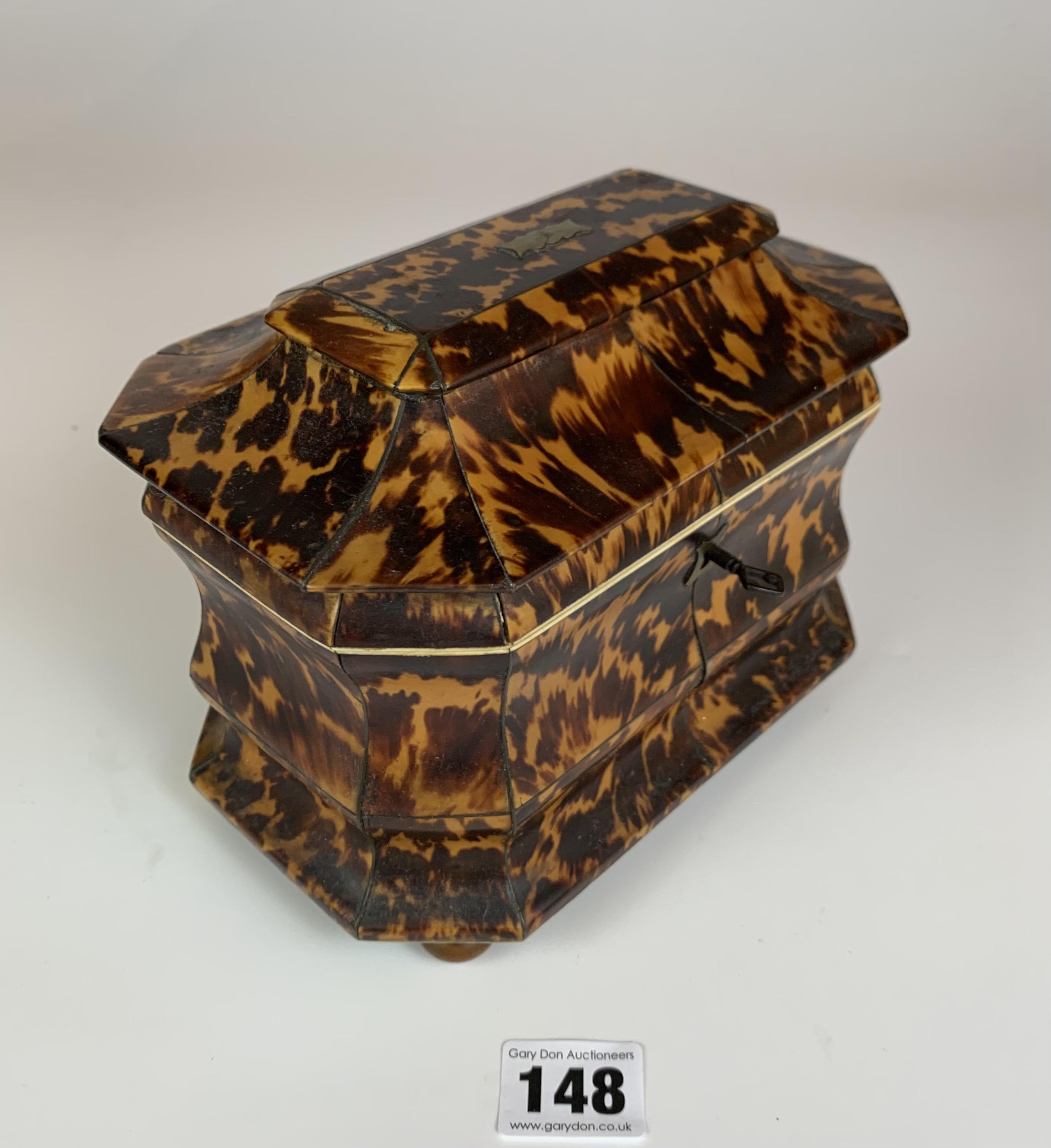 "Regency Tortoiseshell veneered tea caddy with twin compartment, c. 1820. Lid damaged. 7.5"" long x 5"" - Image 2 of 5"