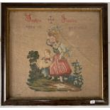 """Embroidery by Sophia James, age 15, 1884. 24"""" x 23"""", frame 28.5"""" x 27.5. Glass broken on frame"""